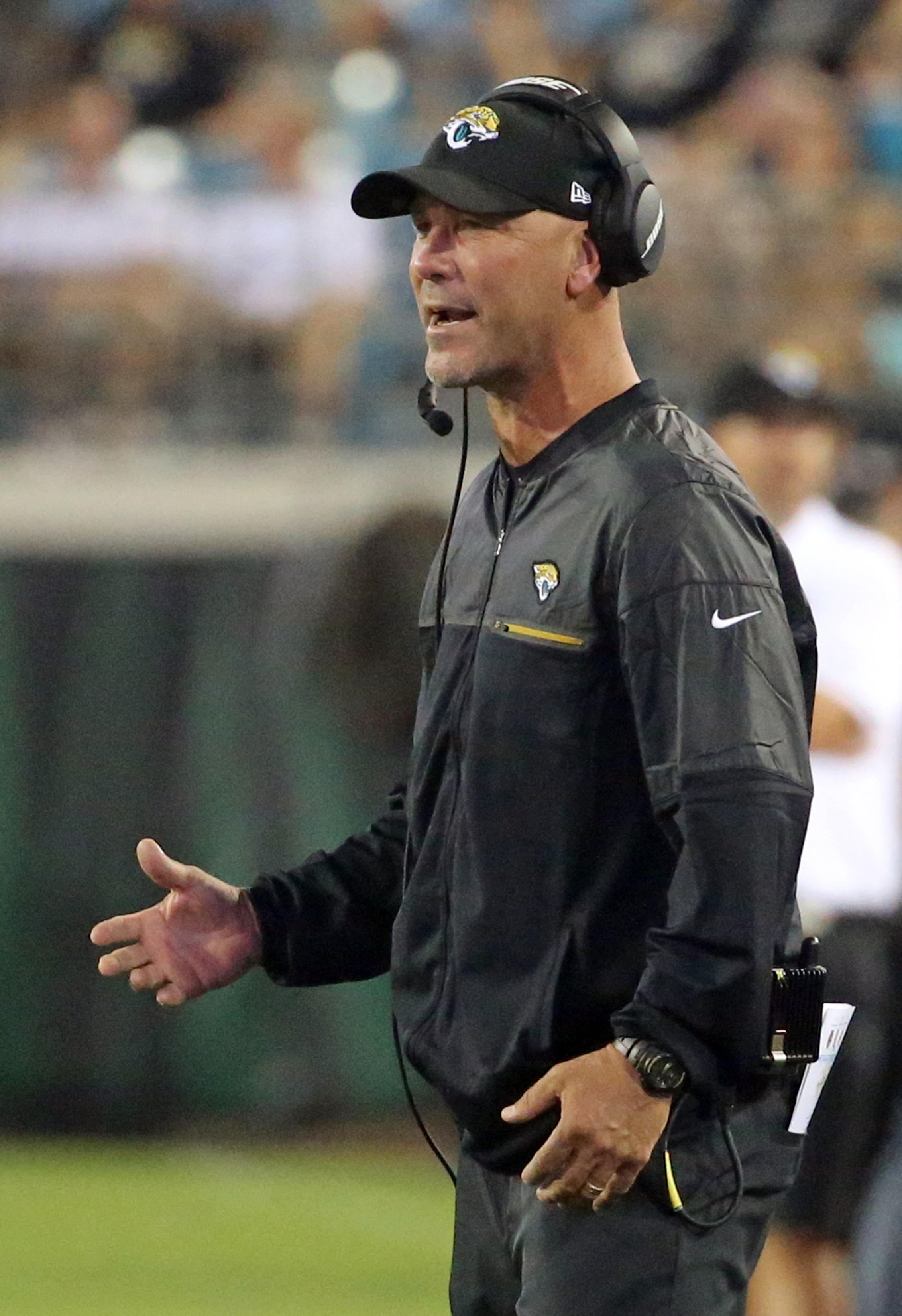 Jacksonville Jaguars head coach Gus Bradley voices an opinion during the first half of an NFL preseason football game against the Cincinnati Bengals in Jacksonville, Fla., Sunday, Aug. 28, 2016.(AP Photo/Stephen B. Morton)
