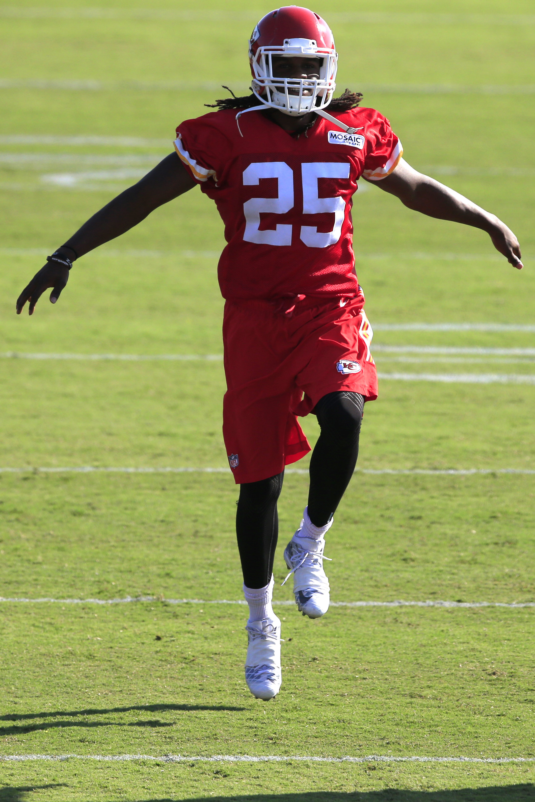 FILE - In this Aug. 17, 2016, file photo, Kansas City Chiefs running back Jamaal Charles warms up during NFL football training camp,  in St. Joseph, Mo. The Chiefs feel like they have more talent across the board than at any point under general manager Jo