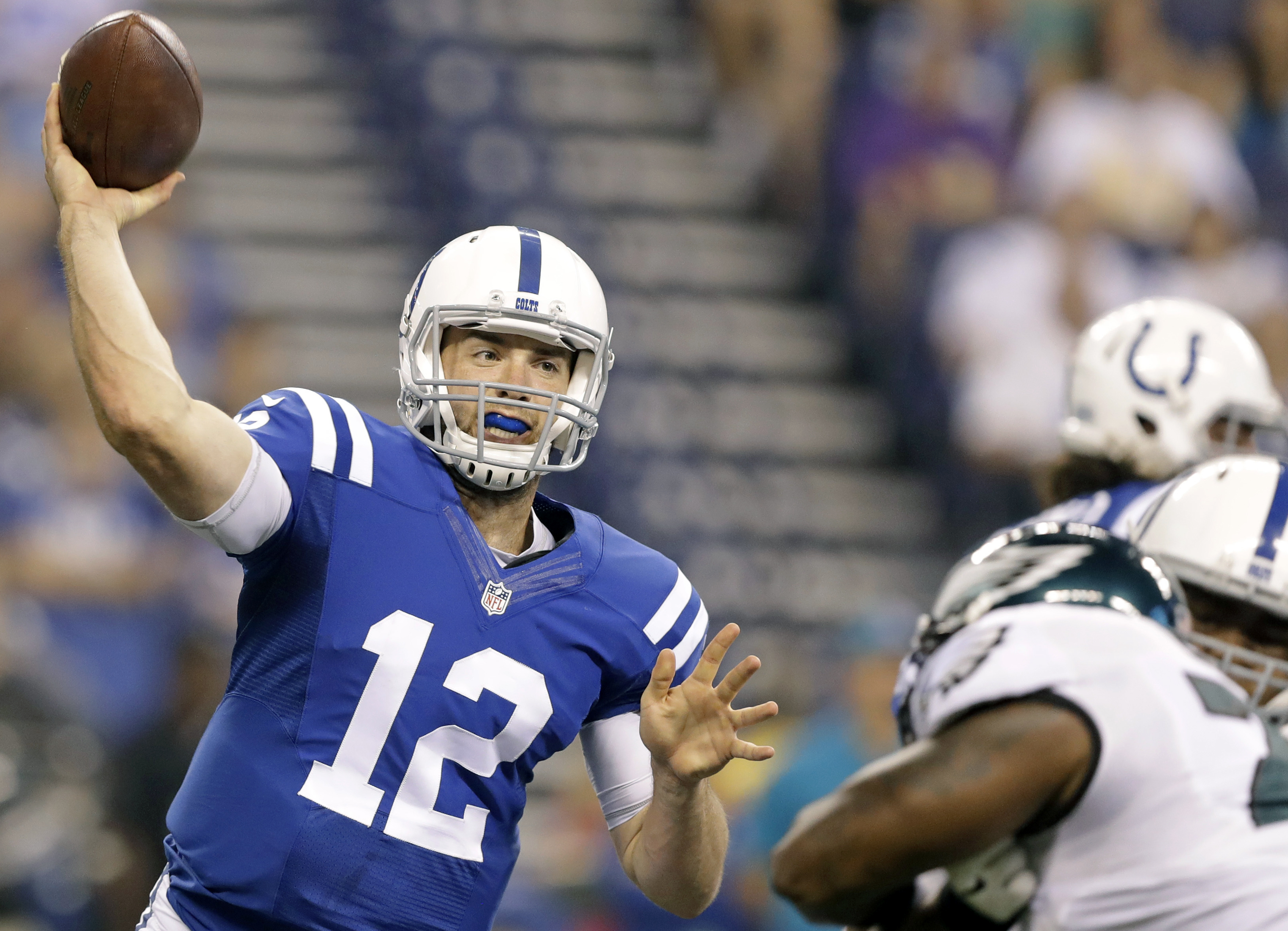 FILE - This Saturday, Aug. 27, 2016 file photo shows Indianapolis Colts quarterback Andrew Luck (12) throwing against the Philadelphia Eagles during the first half of an NFL preseason football game in Indianapolis. Luck returns for the Colts, and so do po