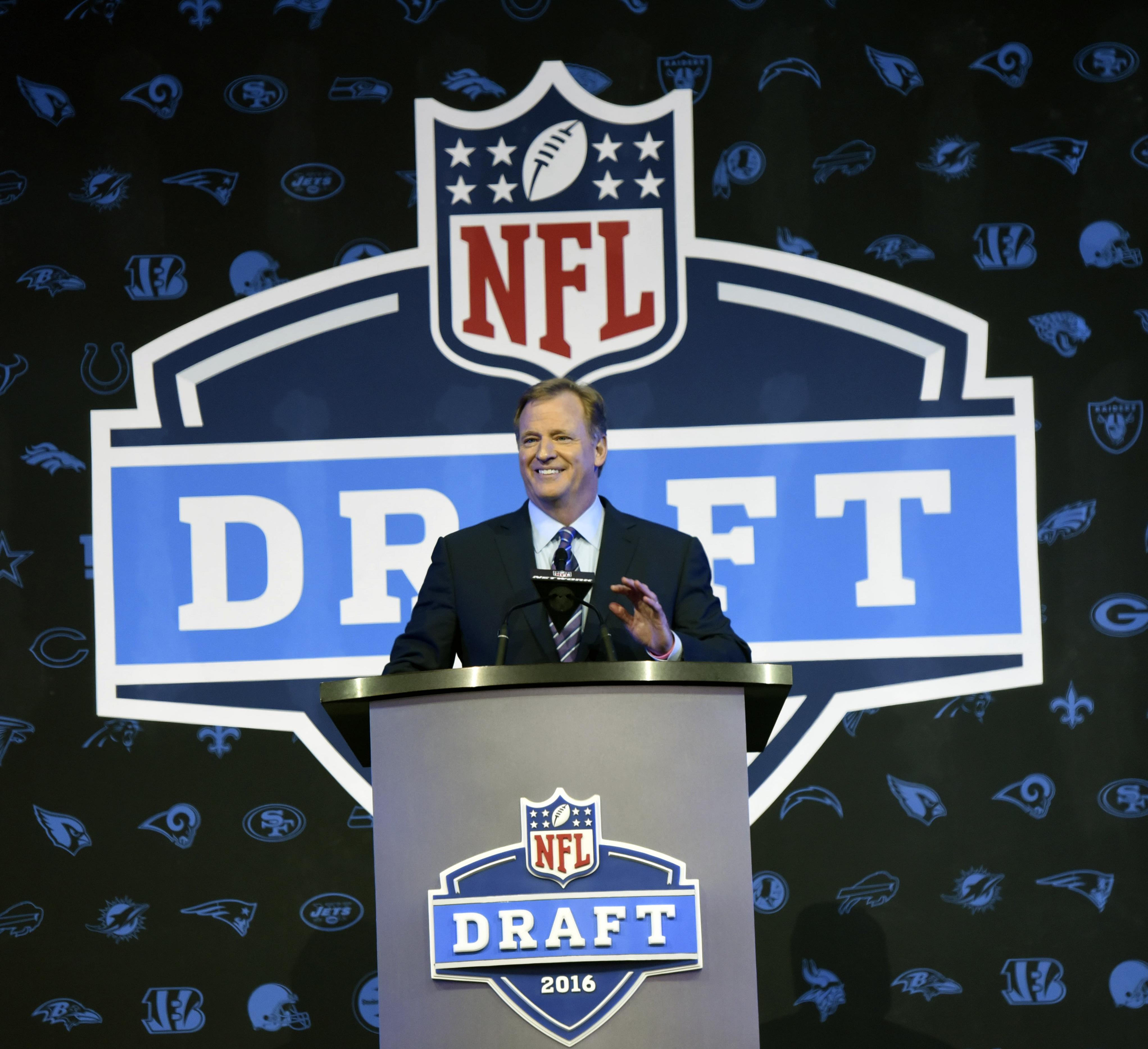 NFL Commissioner Roger Goodell opens the NFL football draft Thursday, April 28, 2016, in Chicago. (AP Photo/Matt Marton)