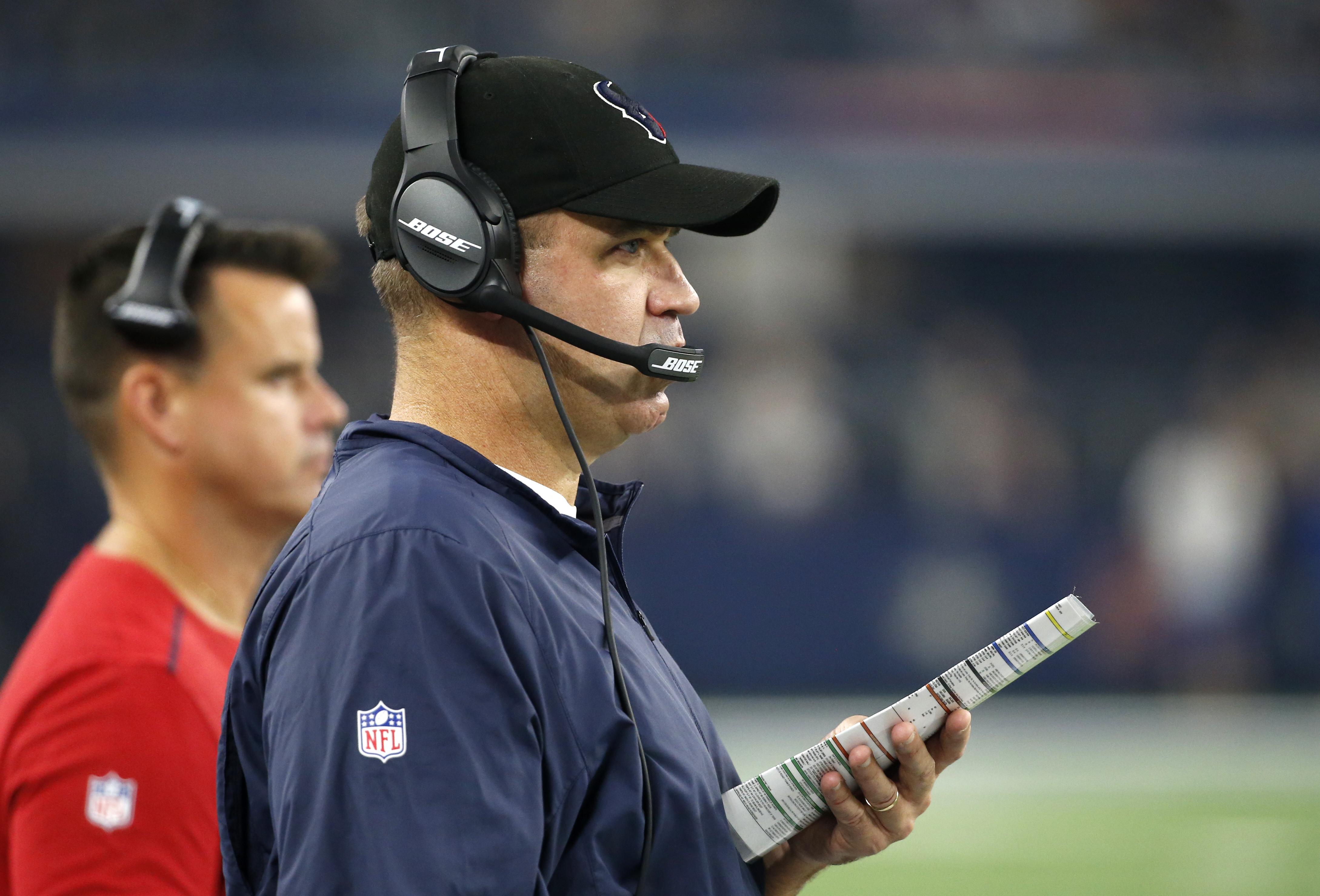 Houston Texans head coach Bill O'Brien watches play against the Dallas Cowboys in the first half of a preseason NFL football game, Thursday Sept. 1, 2016, in Arlington, Texas. (AP Photo/Michael Ainsworth)