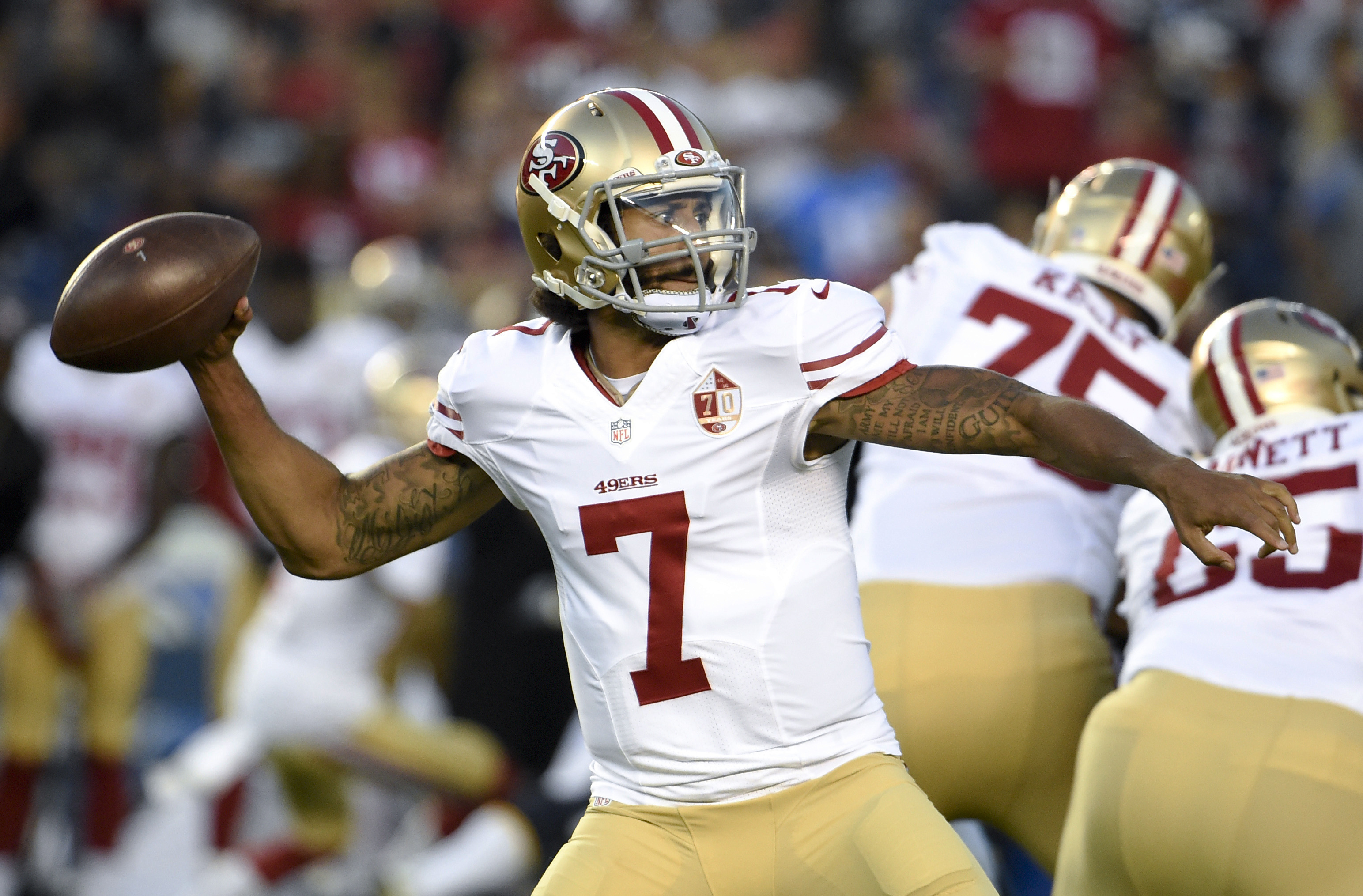 San Francisco 49ers quarterback Colin Kaepernick passes against the San Diego Chargers during the first half of an NFL preseason football game, Thursday, Sept. 1, 2016, in San Diego. (AP Photo/Denis Poroy)