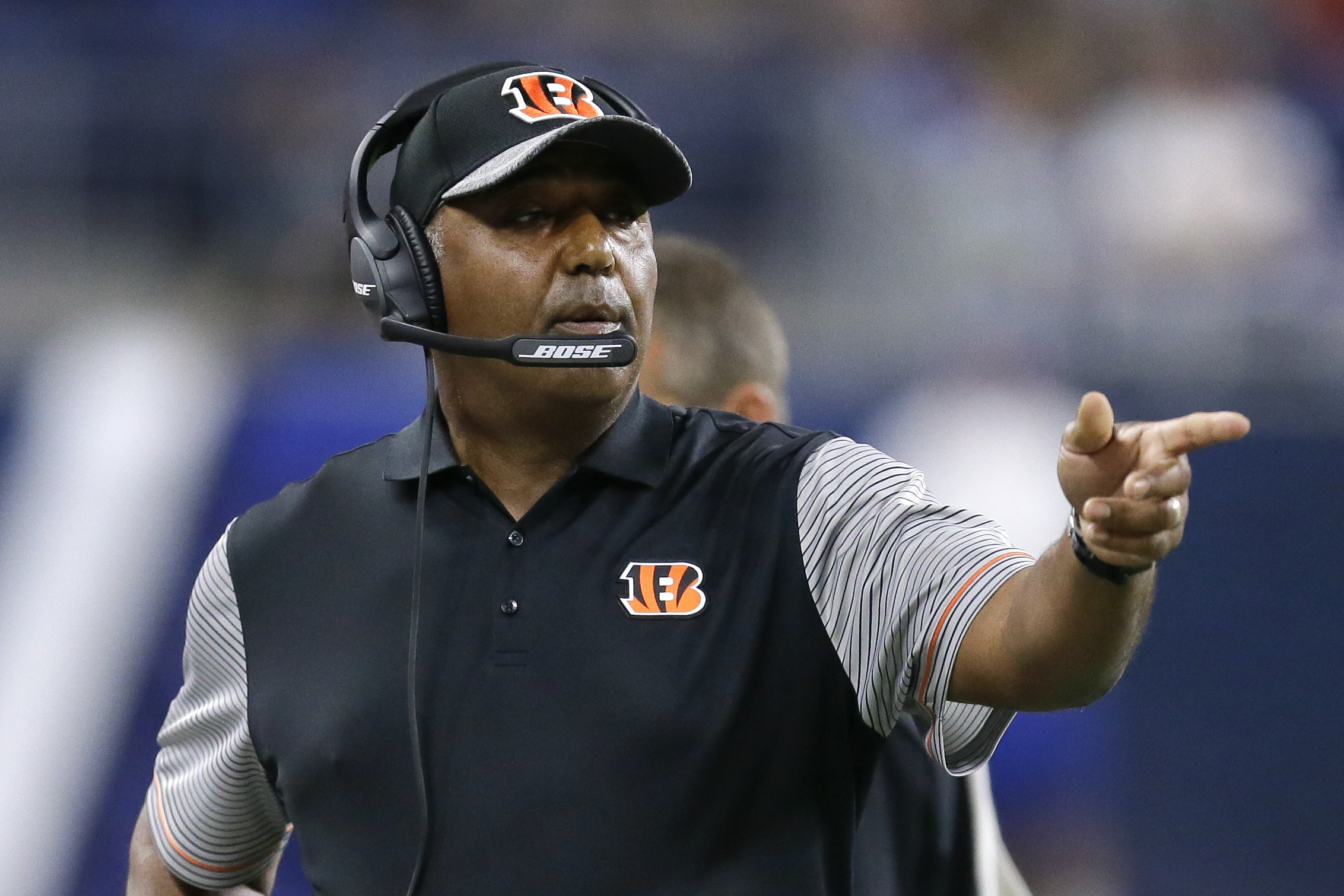FILE - In this Aug. 18, 2016, file photo, Cincinnati Bengals head coach Marvin Lewis points in the first half of an NFL preseason football game against the Detroit Lions in Detroit. The Bengals are right up there among the NFLs elite when it comes to reac