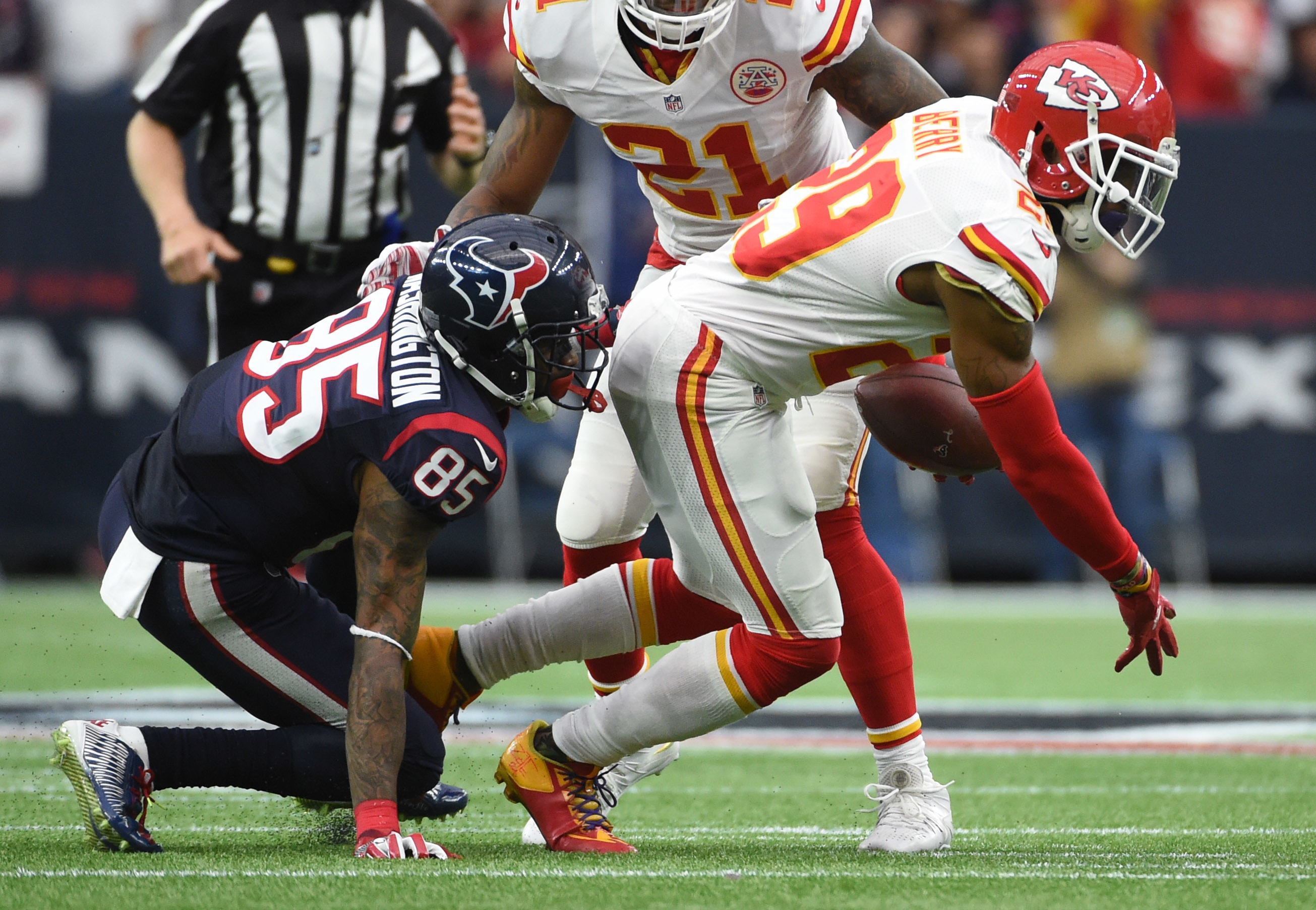 FILE - In this Jan. 9, 2016, file photo, Kansas City Chiefs free safety Eric Berry (29) intercepts a pass in front of Houston Texans wide receiver Nate Washington (85) during the first half of an NFL wild-card football game in Houston. (AP Photo/Eric Chri
