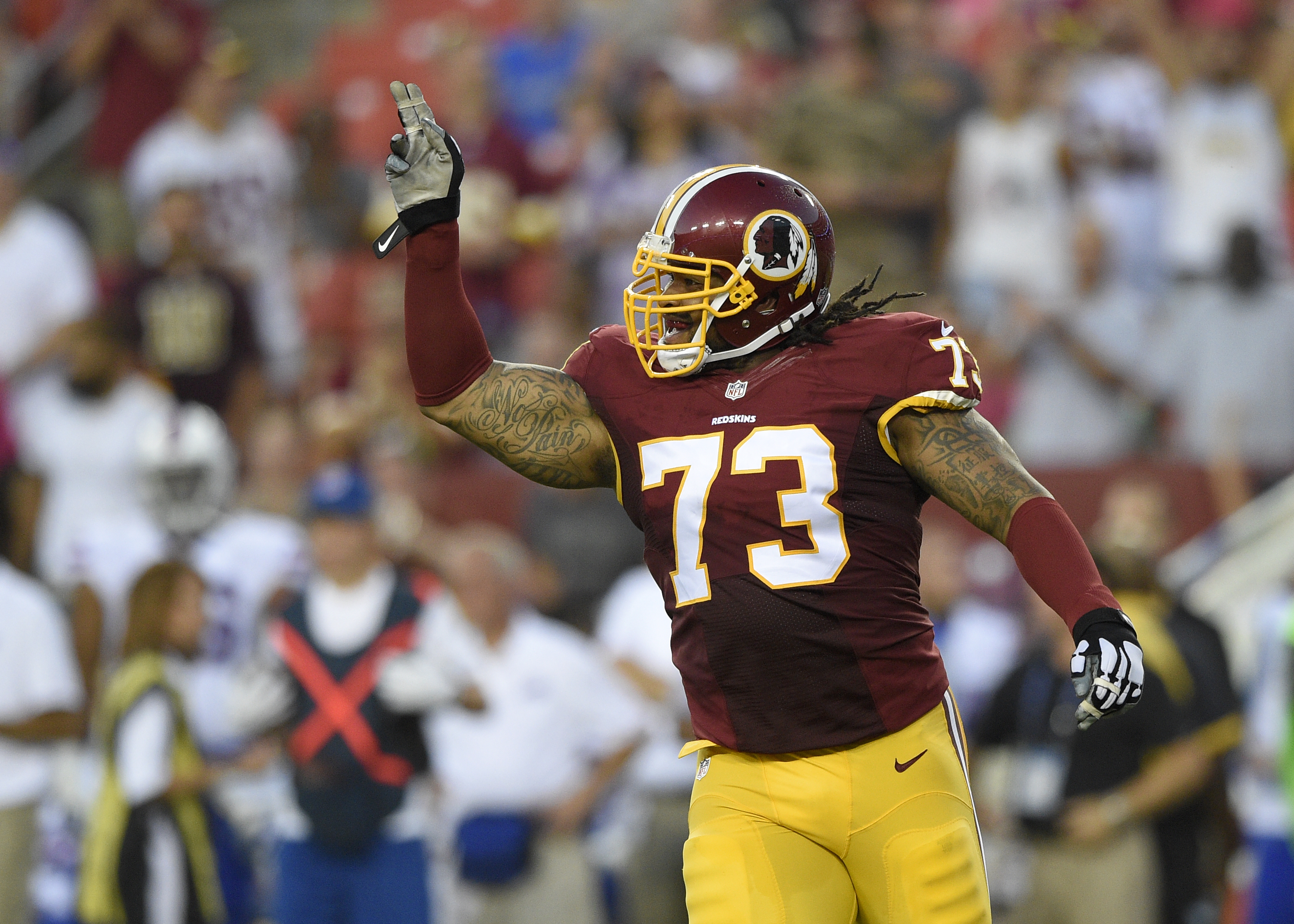 In this photo taken Aug. 26, 2016, Washington Redskins defensive end Ziggy Hood (73) reacts during the first half of an NFL preseason football game against the Buffalo Bills, in Landover, Md. A first-round pick of the Pittsburgh Steelers in 2009, defensiv