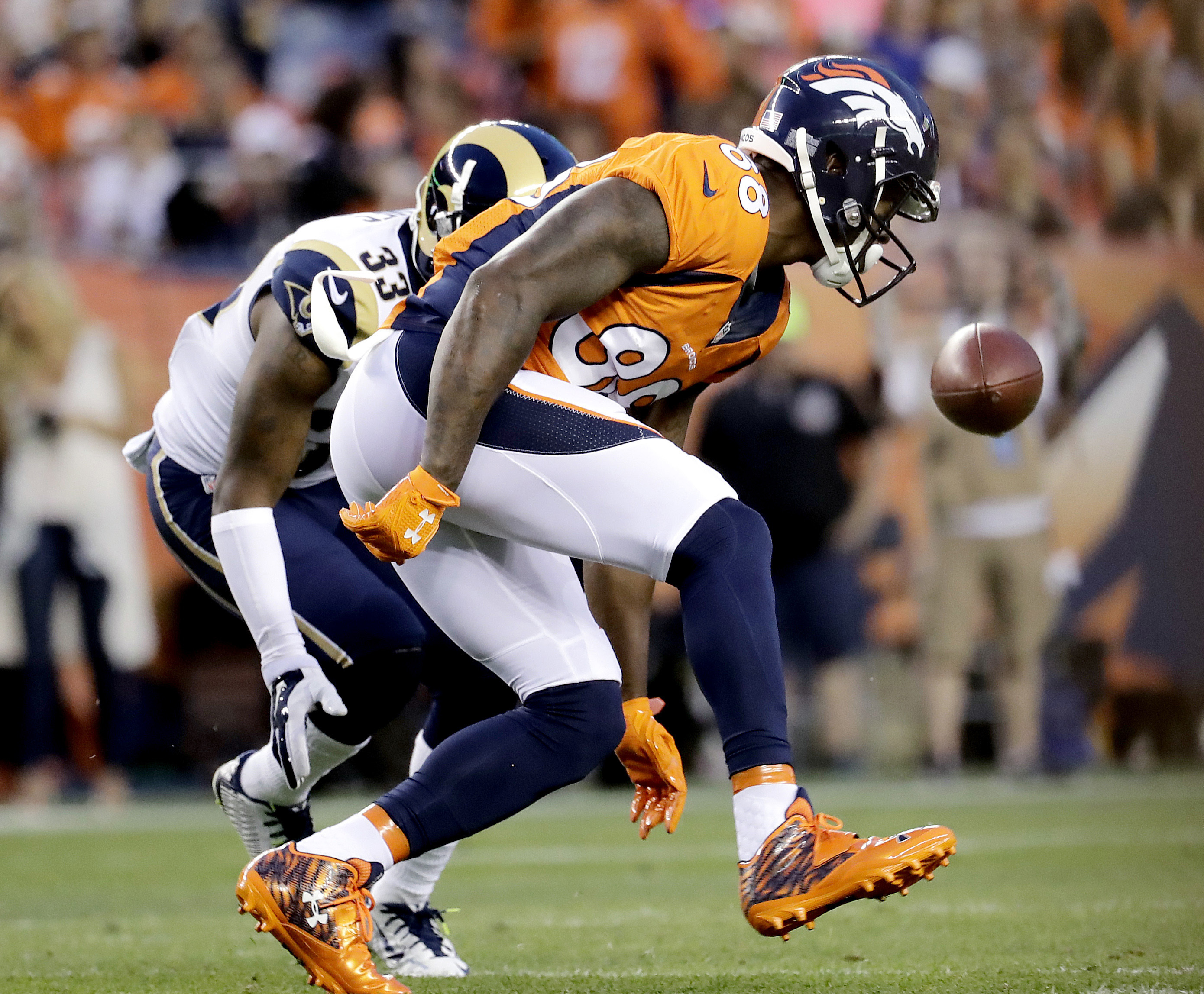 FILE - In this Aug. 28, 2016, file photo, Denver Broncos wide receiver Demaryius Thomas (88) can't make the catch as Los Angeles Rams cornerback E.J. Gaines (33) defends during the first half of an NFL preseason football game in Denver. The Broncos are a