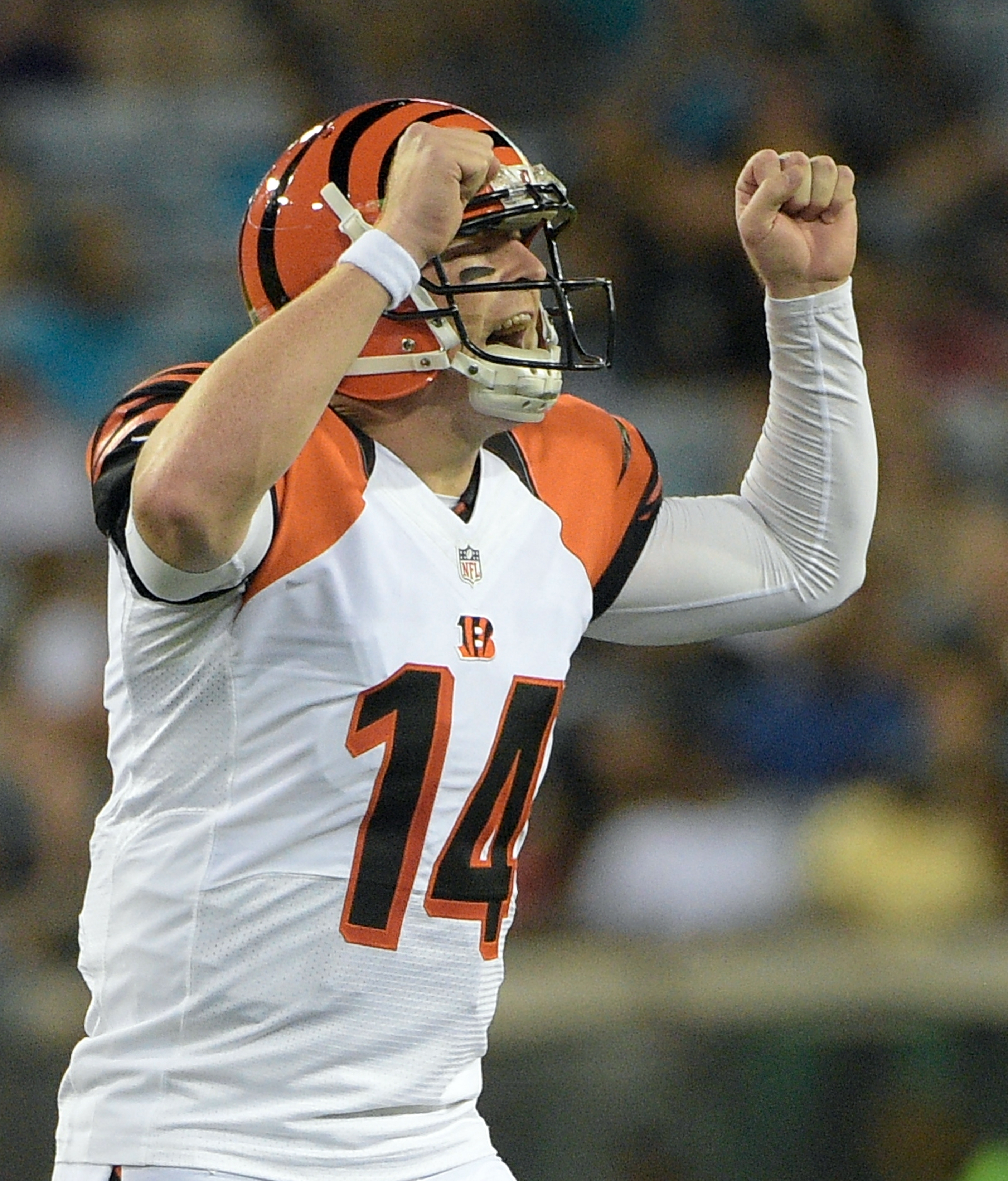 FILE - In this Aug. 28, 2016, file photo, Cincinnati Bengals quarterback Andy Dalton calls out to teammates before a play against the Jacksonville Jaguars during the first half of an NFL preseason football game in Jacksonville, Fla. The Bengals quarterbac