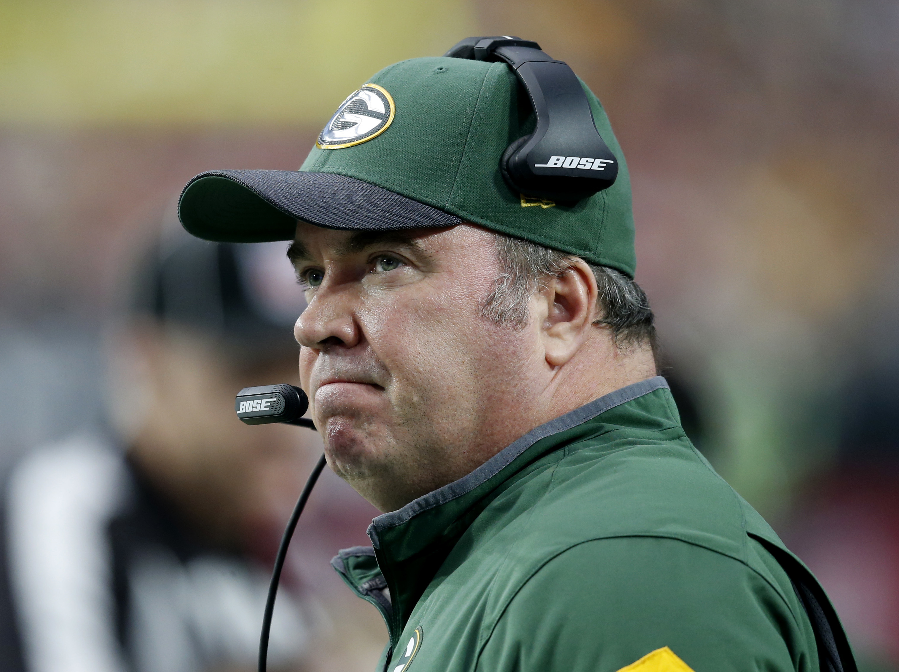 FILE - In this Dec. 27, 2015, file photo, Green Bay Packers head coach Mike McCarthy watches his team during the first half of an NFL football game against the Arizona Cardinals in Glendale, Ariz. Winning the division is important in Green Bay, but the Pa