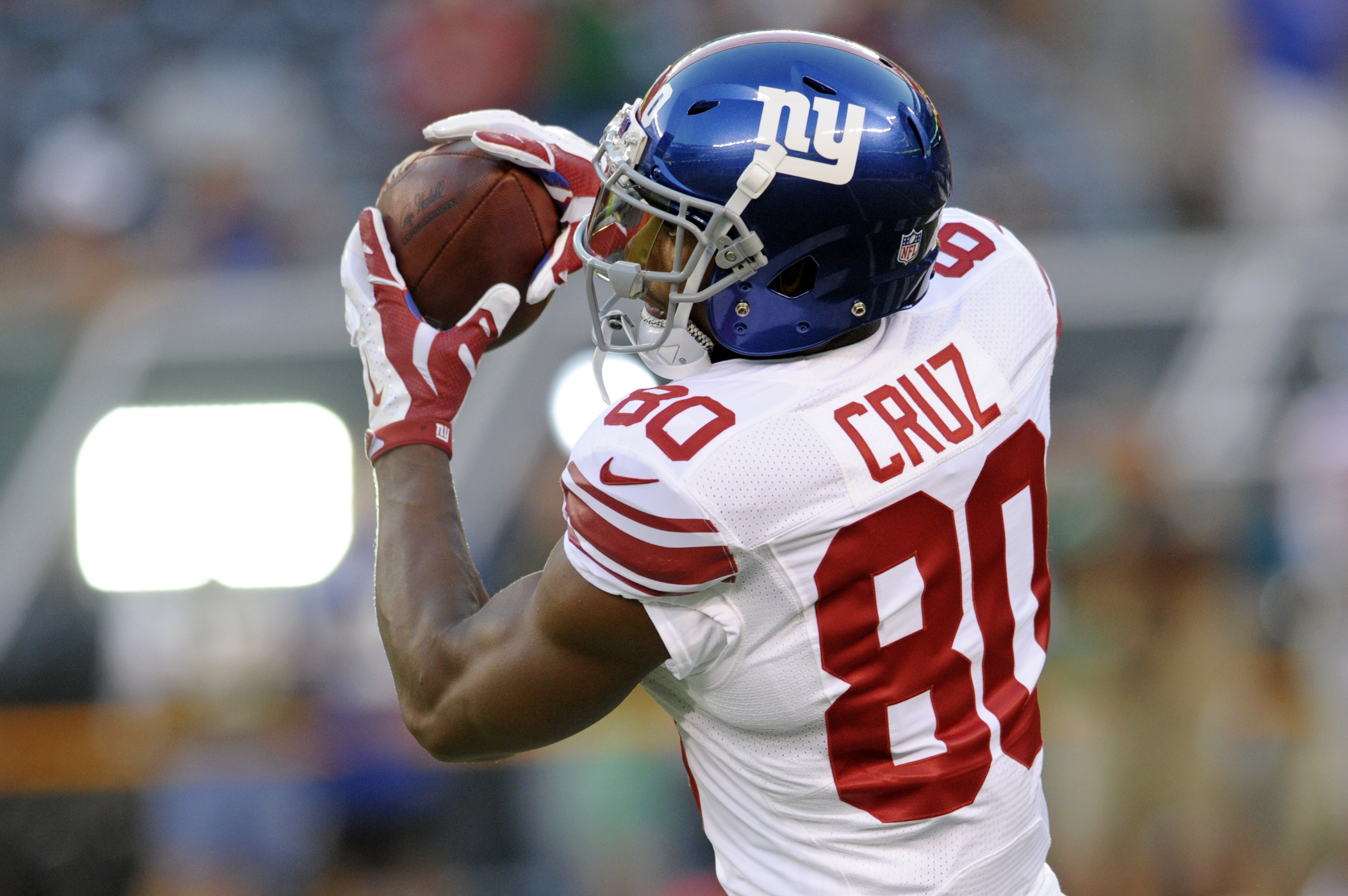 FILE - In this Aug. 27, 2016, file photo, New York Giants wide receiver Victor Cruz (80) catches a pass before an NFL preseason football game against the New York Jets in East Rutherford, N.J. Cruz is expected to play in his first game on Sunday against t