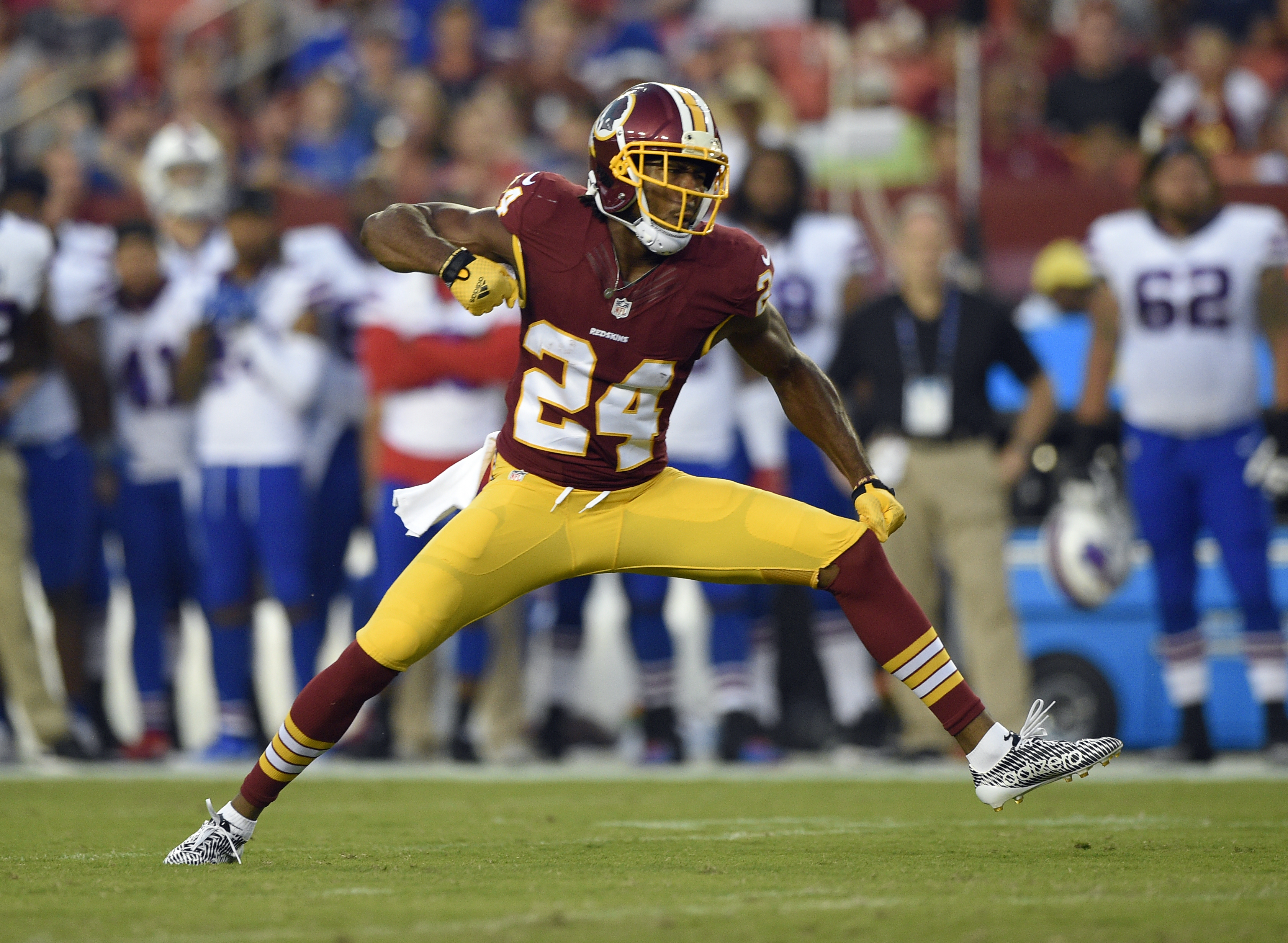 FILE - In this Aug. 26, 2016, file photo, Washington Redskins cornerback Josh Norman (24) reacts after a play during the first half of an NFL preseason football game against the Buffalo Bills in Landover, Md. After signing a $75 million, 5-year deal, the