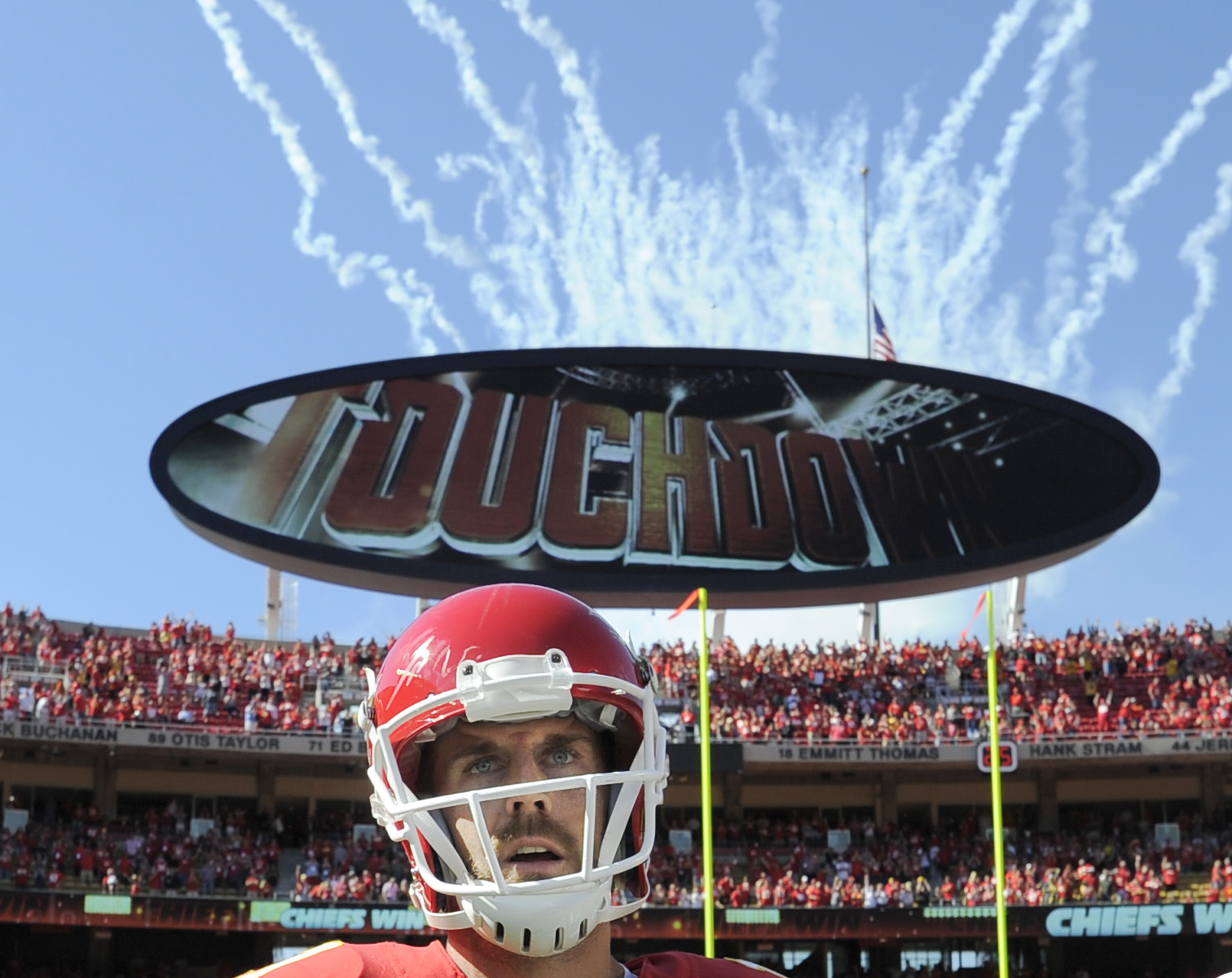 Kansas City Chiefs quarterback Alex Smith (11) pauses after he scored the winning touchdown against the San Diego Chargers in overtime in an NFL football game in Kansas City, Mo., Sunday, Sept. 11, 2016. The Kansas City Chiefs won 33-27. (AP Photo/Ed Zurg