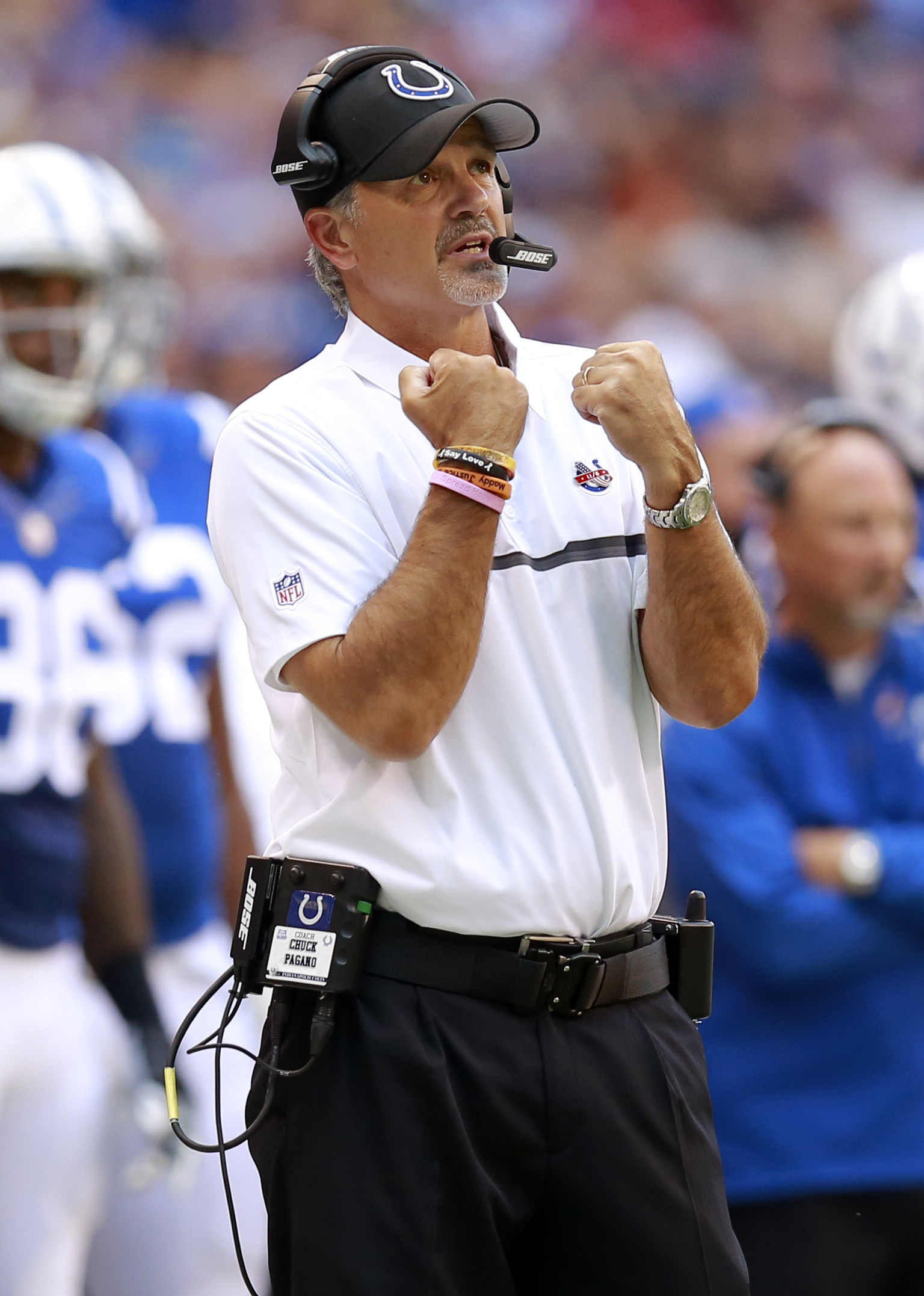 Indianapolis Colts head coach Chuck Pagano signals from the sideline during the first half of an NFL football game against the Detroit Lions in Indianapolis, Sunday, Sept. 11, 2016. (AP Photo/R Brent Smith)