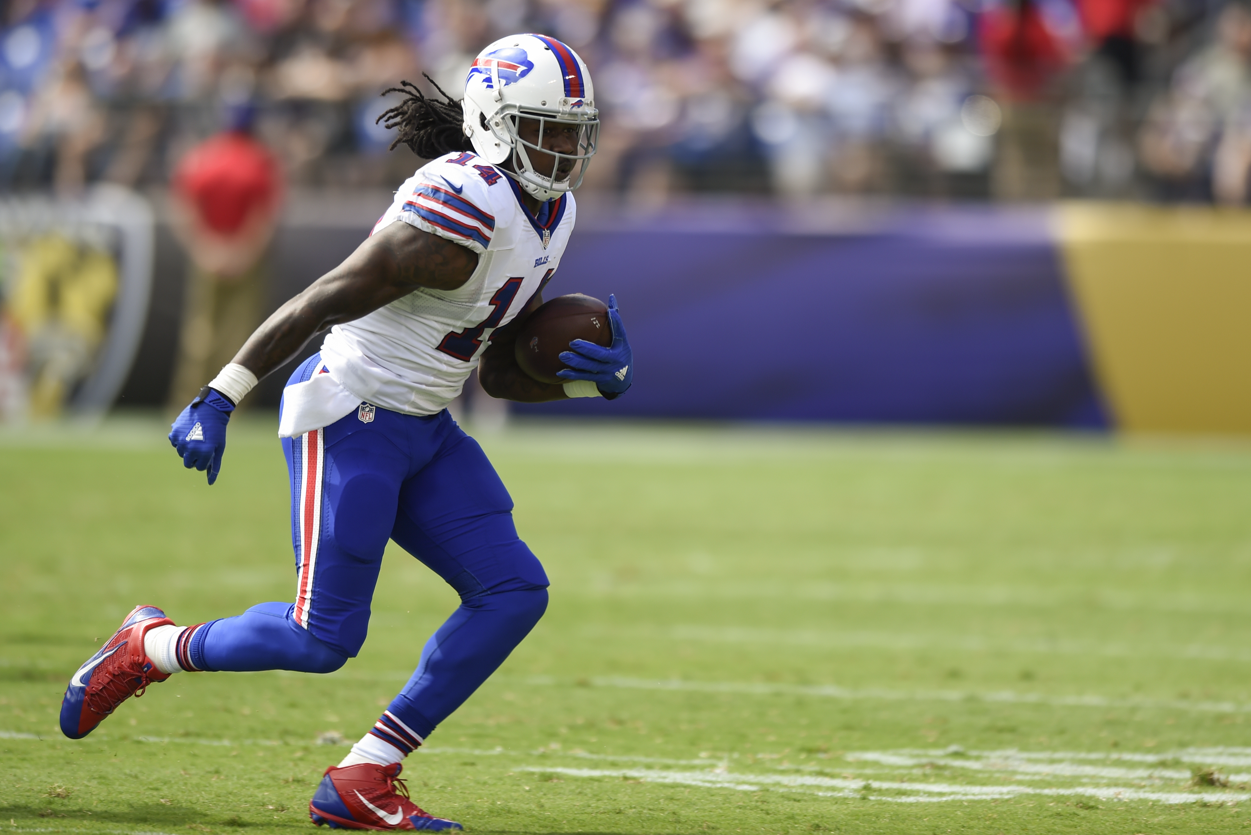 Buffalo Bills wide receiver Sammy Watkins (14) carries the ball during the first half of an NFL football game against the Baltimore Ravens in Baltimore, Sunday, Sept. 11, 2016. (AP Photo/Gail Burton)