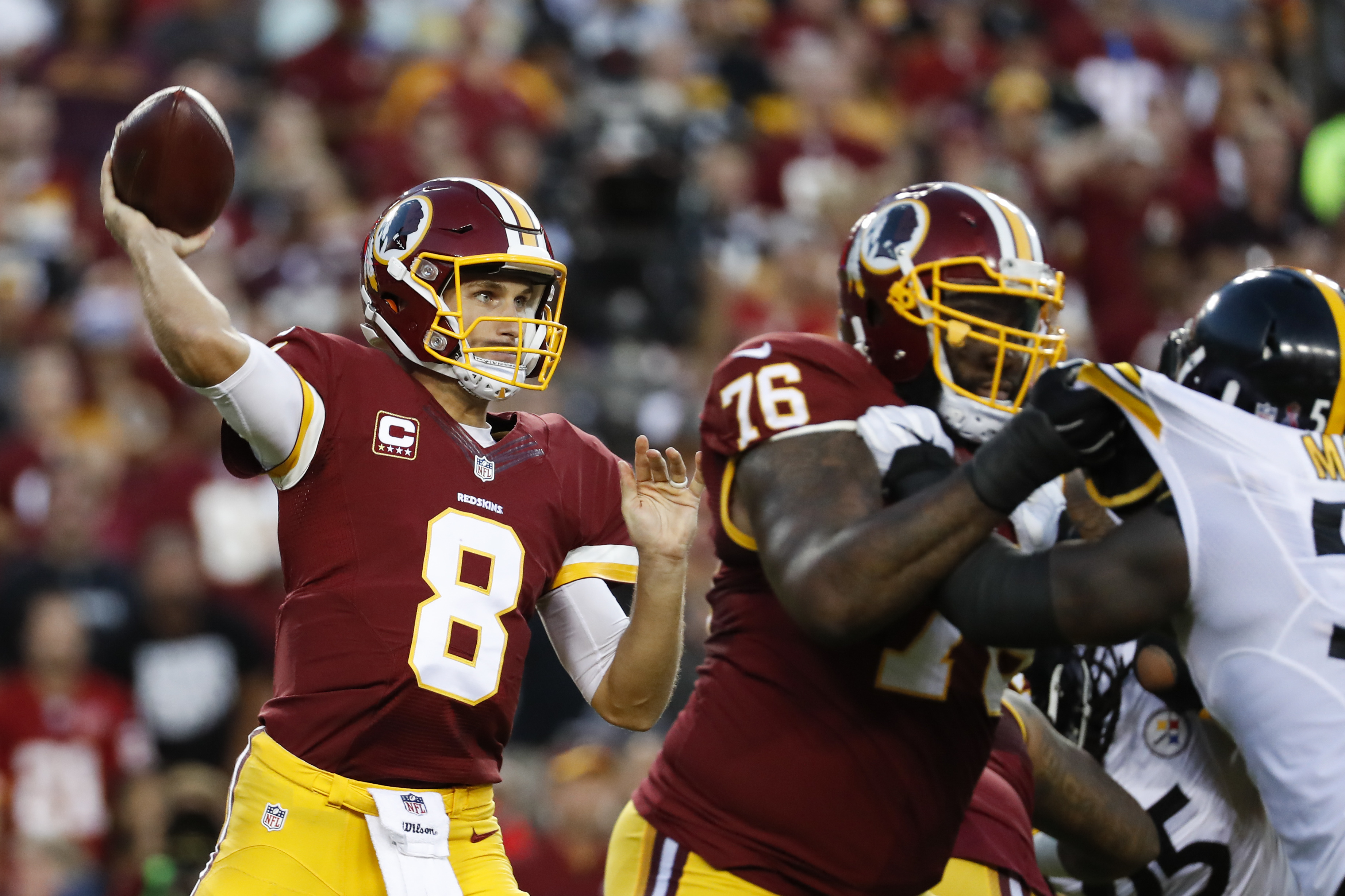 Washington Redskins quarterback Kirk Cousins (8) passes the ball during the first half of an NFL football game against the Pittsburgh Steelers in Landover, Md., Monday, Sept. 12, 2016. (AP Photo/Alex Brandon)