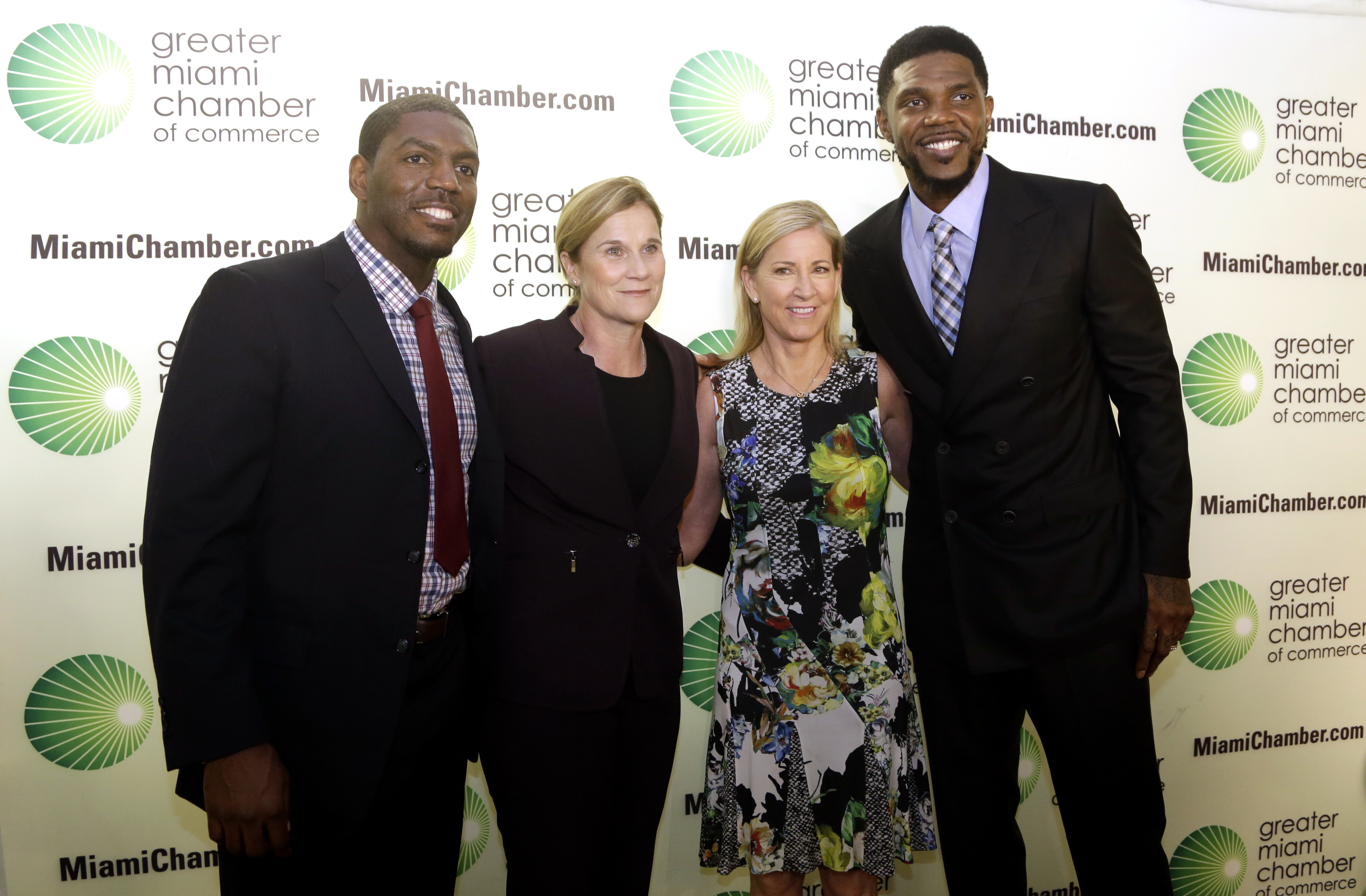 Greater Miami Chamber of Commerce Sports Hall of Champions inductees, from left, Jonathan Vilma, former NFL football player for the New Orleans Saints;  Jill Ellis, coach of the U.S. women's soccer team; former tennis player Chris Evert, and Miami Heat pl