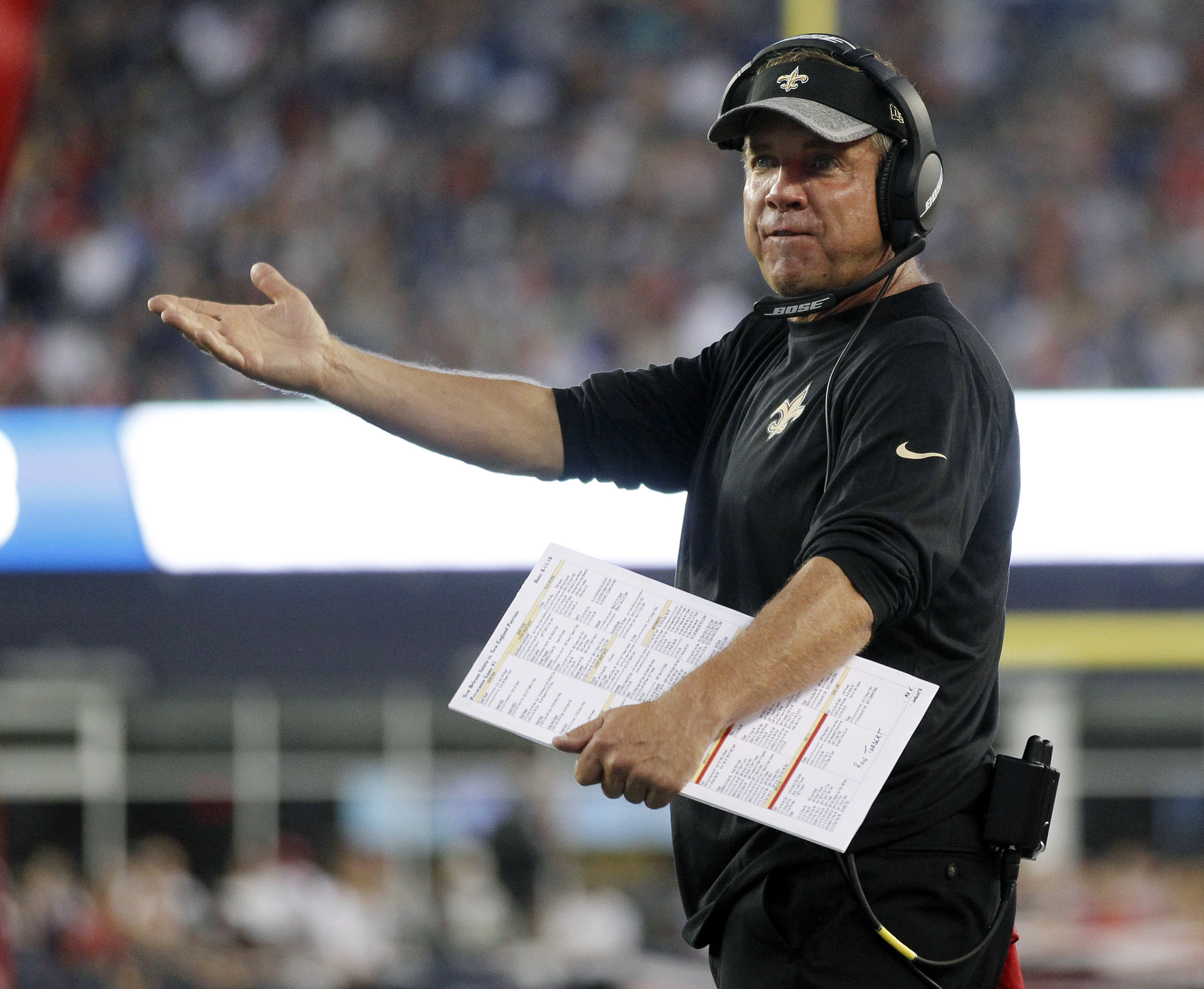FILE - In this Aug. 11, 2016, file photo, New Orleans Saints coach Sean Payton gestures from the sideline during the team's preseason NFL football game against the New England Patriots in Foxborough, Mass. Payton is prepared to quit calling offensive play