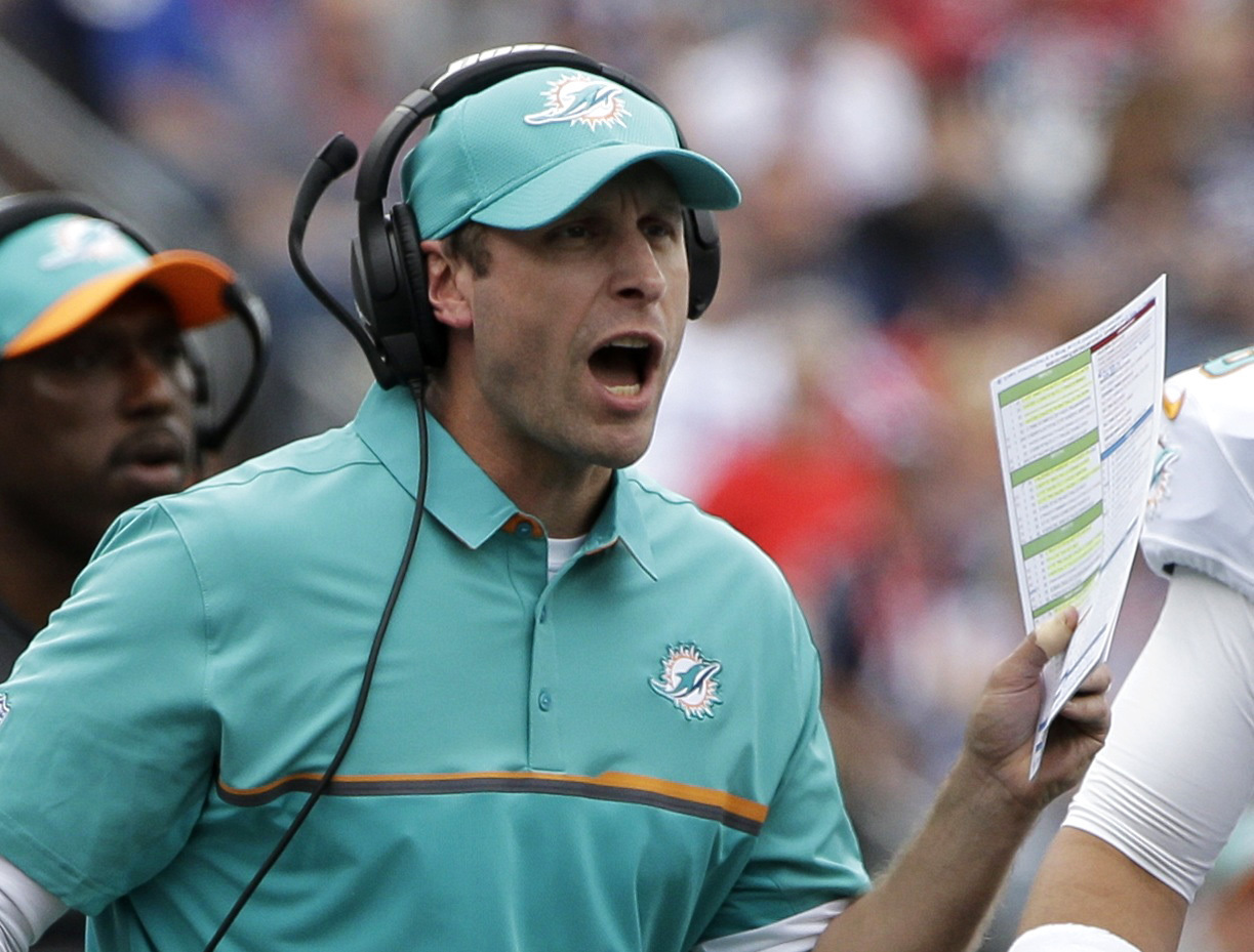 Miami Dolphins head coach Adam Gase shouts from the sideline during the first half of an NFL football game against the New England Patriots, Sunday, Sept. 18, 2016, in Foxborough, Mass. (AP Photo/Steven Senne)