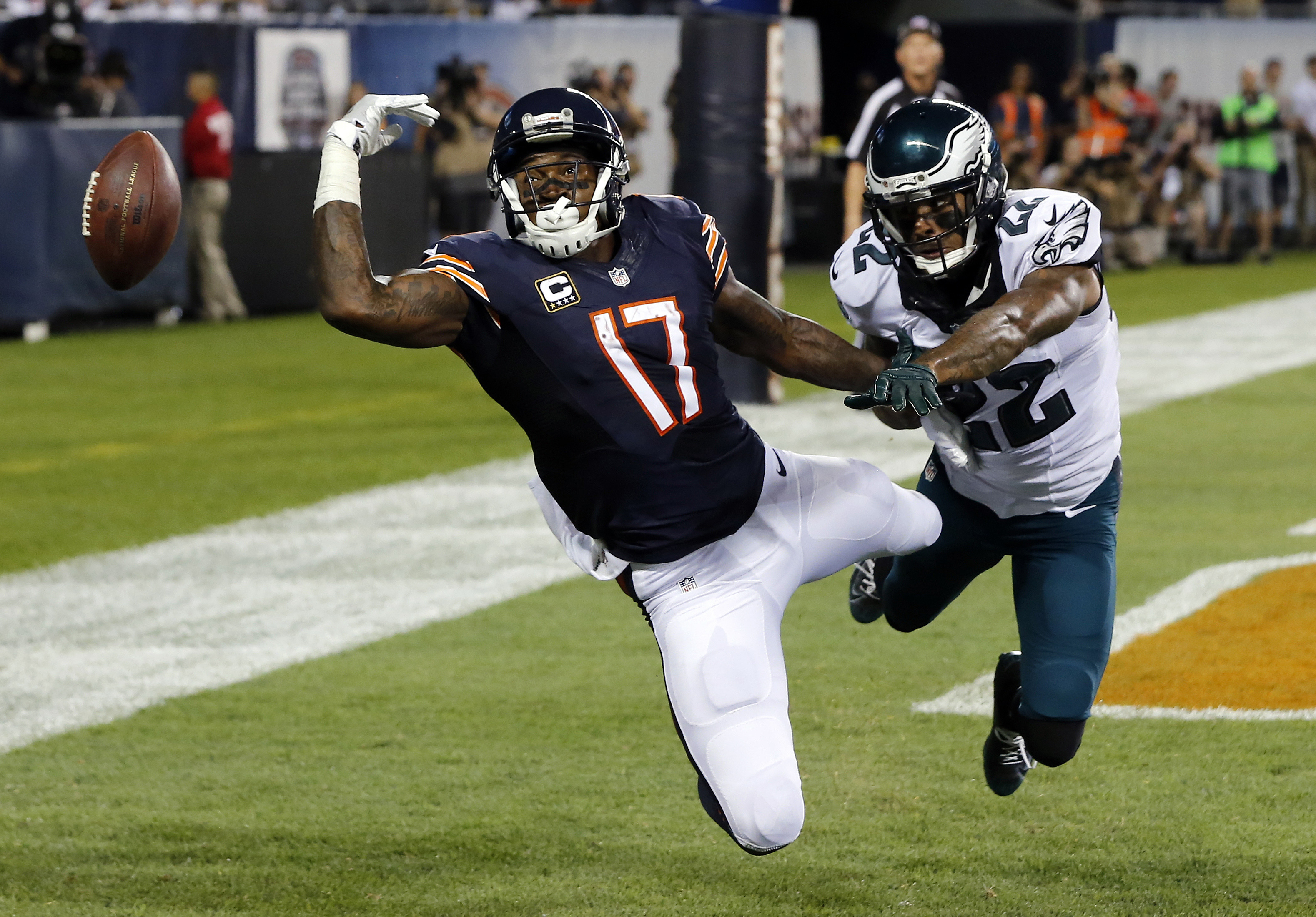 Philadelphia Eagles cornerback Nolan Carroll (22) breaks up a pass intended for Chicago Bears wide receiver Alshon Jeffery (17) during the first half of an NFL football game, Monday, Sept. 19, 2016, in Chicago. Pass interference against Carroll was called