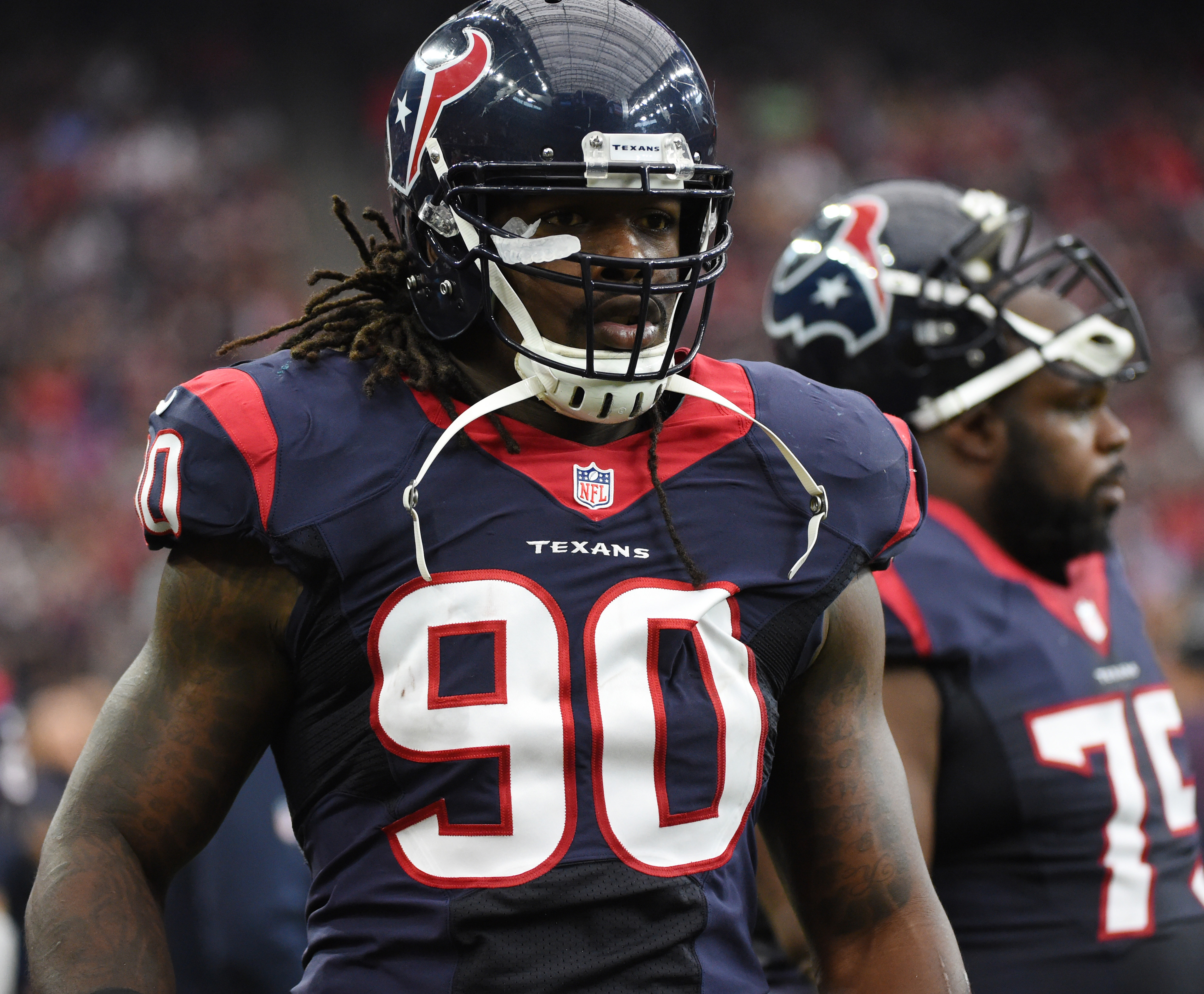 FILE - In this Nov. 1, 2015, file photo, Houston Texans outside linebacker Jadeveon Clowney (90) is shown during the first half of an NFL football game in Houston. Clowney failed to make an impact in his first two injury-plagued NFL seasons. Now the top o