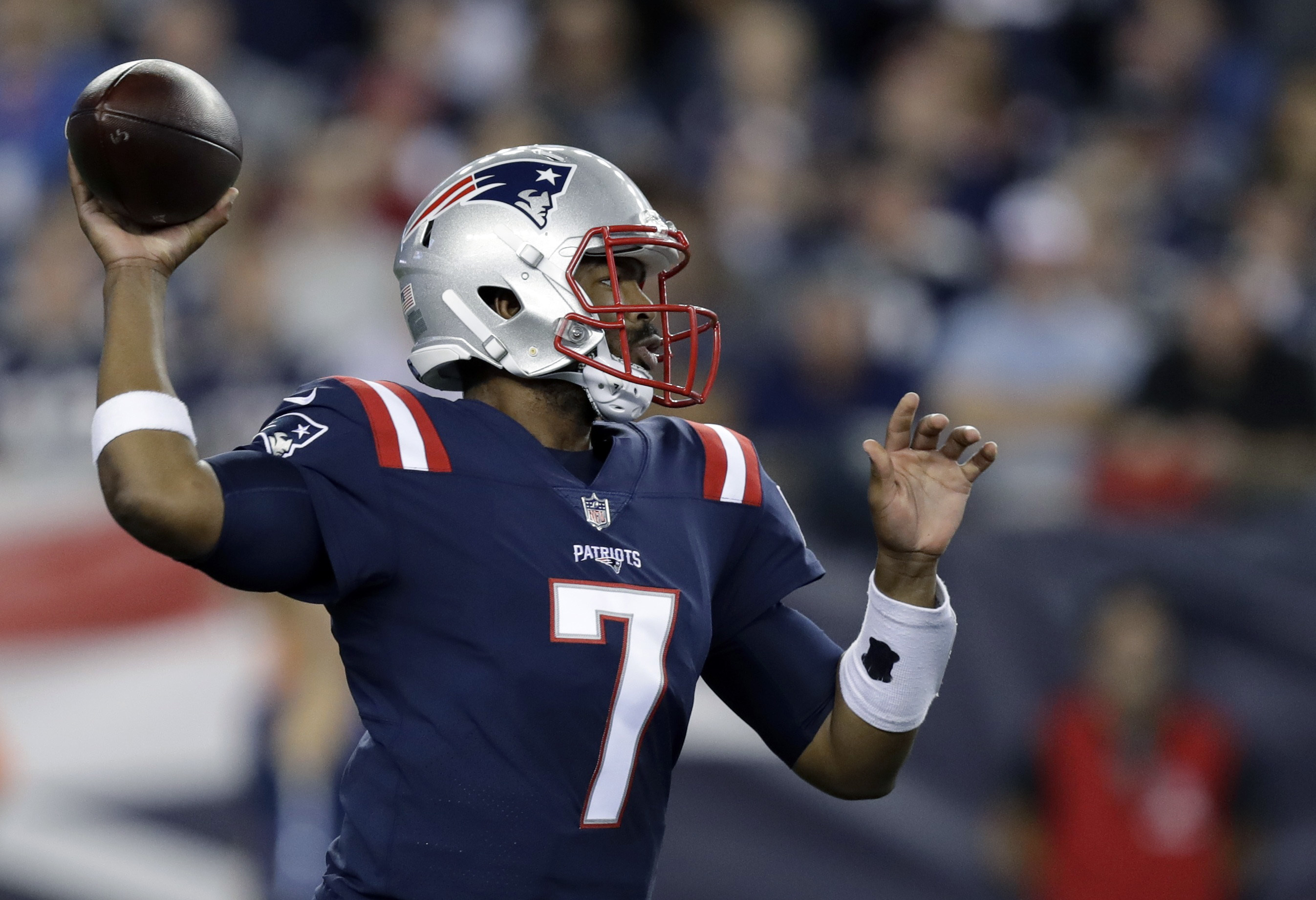 New England Patriots quarterback Jacoby Brissett (7) passes against the Houston Texans during the first half of an NFL football game Thursday, Sept. 22, 2016, in Foxborough, Mass. (AP Photo/Charles Krupa)