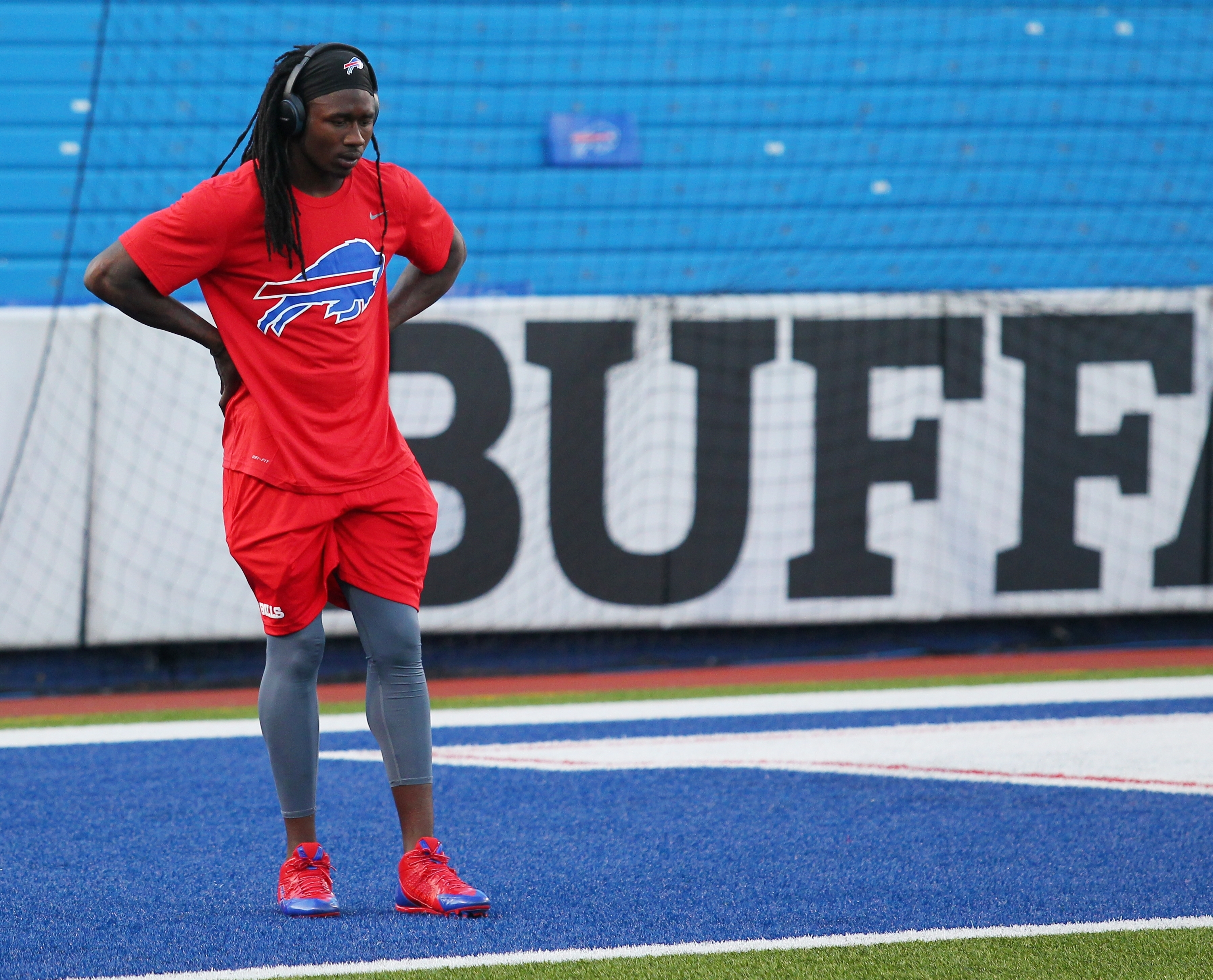 FILE - In this Thursday, Sept. 15, 2016, file photo, Buffalo Bills wide receiver Sammy Watkins warms up before an NFL football game against the New York Jets in Orchard Park, N.Y. Watkins, hampered by foot soreness in recent weeks, is unlikely to play aga