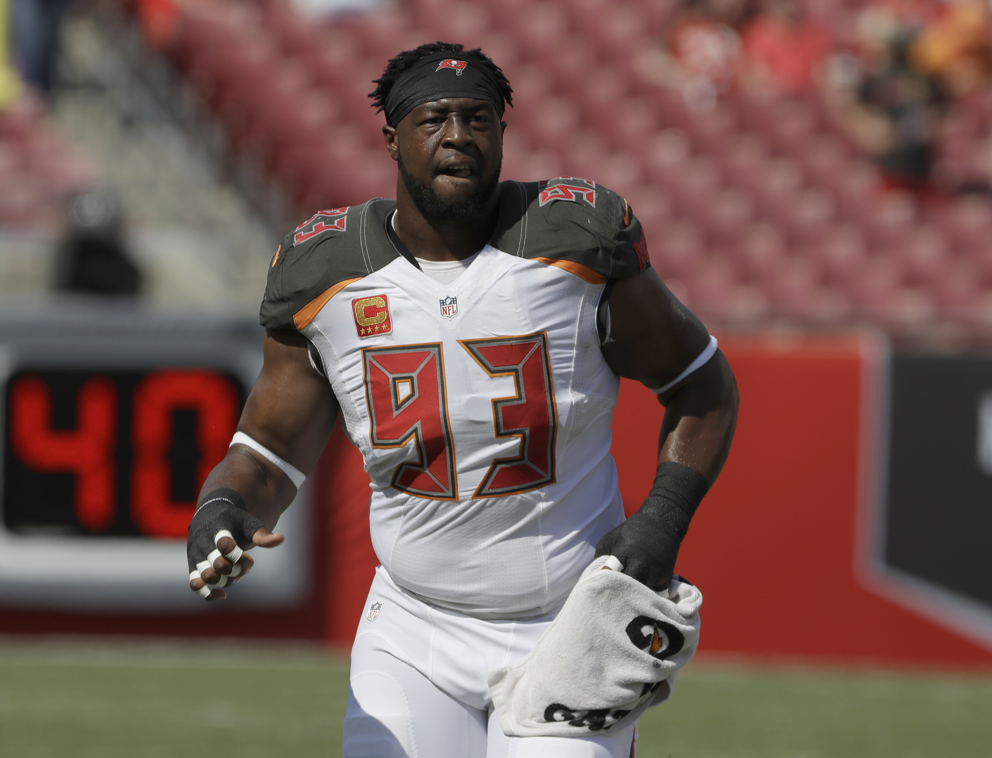 FILE - This Sunday, Sept. 25, 2016 file photo shows Tampa Bay Buccaneers defensive tackle Gerald McCoy (93) before an NFL football game against the Los Angeles Rams in Tampa, Fla. The Buccaneers play the Denver Broncos on Sunday, Oct. 2, 2016. (AP Photo/C