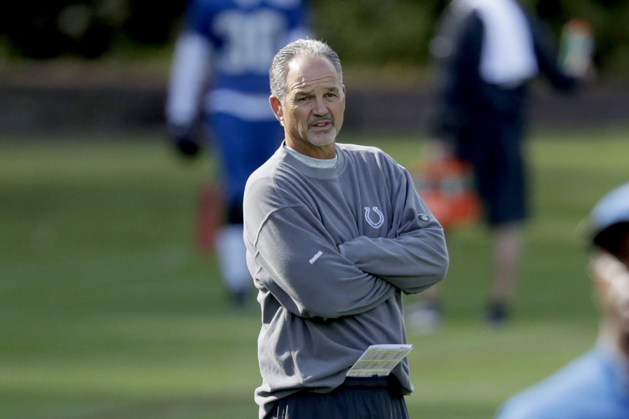 Indianapolis Colts head coach Chuck Pagano supervises an NFL training session at the Grove Hotel in Chandler's Cross, England, Friday, Sept. 30, 2016. The Indianapolis Colts are due to play the Jacksonville Jaguars at Wembley stadium in London on Sunday i