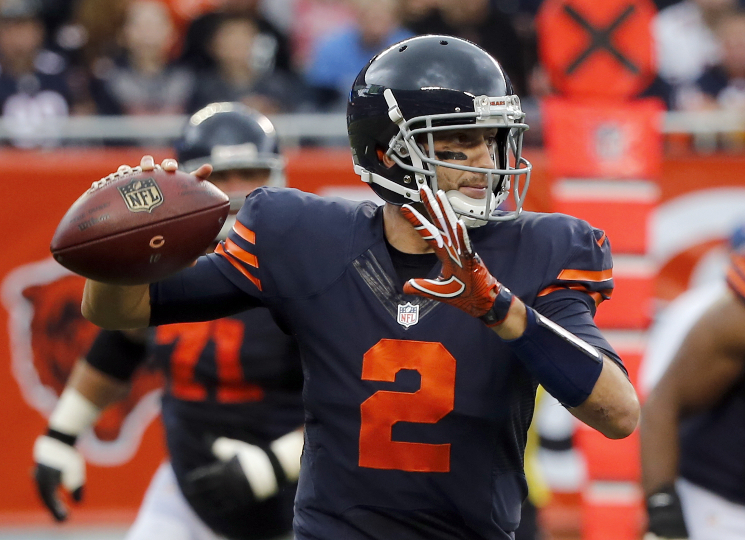 Chicago Bears quarterback Brian Hoyer (2) throws a pass during the first half of an NFL football game against the Detroit Lions, Sunday, Oct. 2, 2016, in Chicago. (AP Photo/Charles Rex Arbogast)