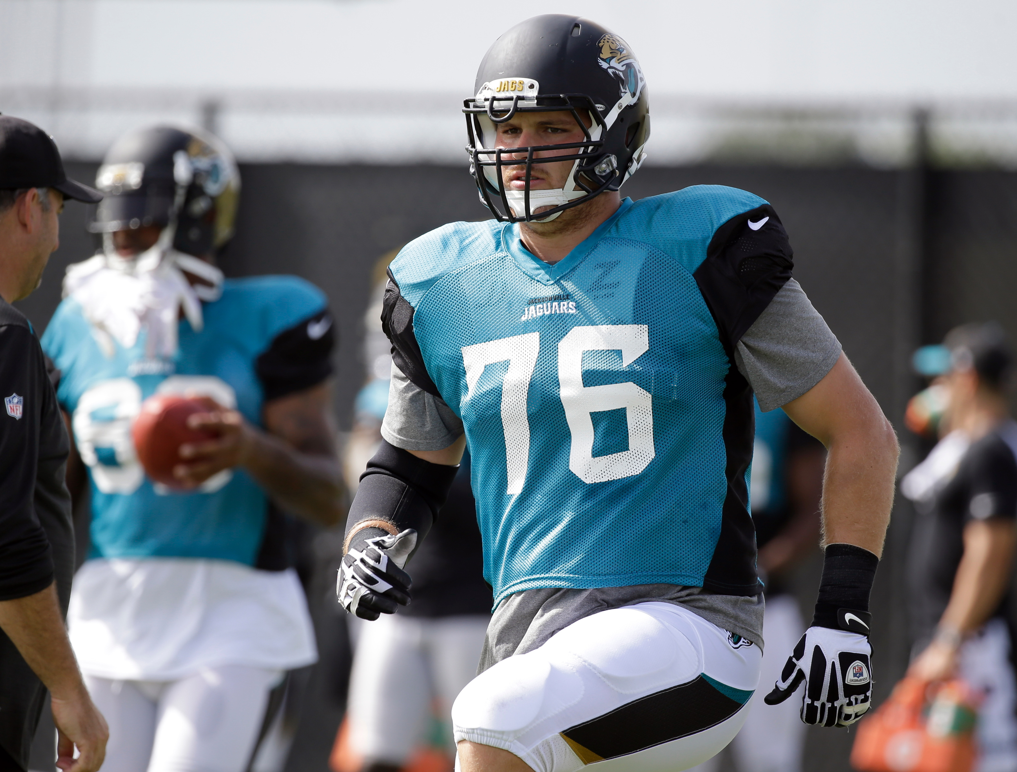 Jacksonville Jaguars offensive tackle Luke Joeckel (76) warms up during NFL football training camp, Tuesday, Aug. 2, 2016, in Jacksonville, Fla. (AP Photo/John Raoux)