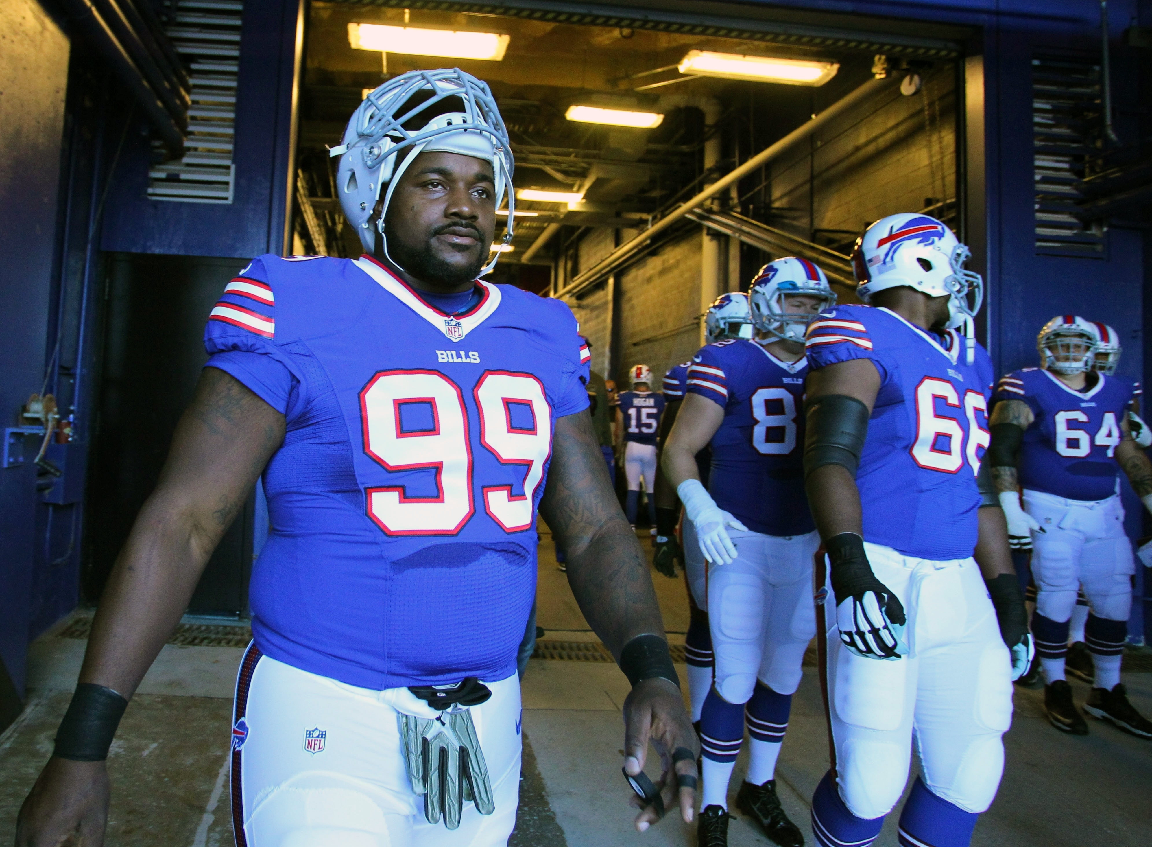 FILE - In this Nov. 8, 2015, file photo, Buffalo Bills defensive tackle Marcell Dareus (99) heads to the field before playing the Miami Dolphins in an NFL football game, in Orchard Park, N.Y.  Bills star defensive tackle Marcell Dareus returns to practice