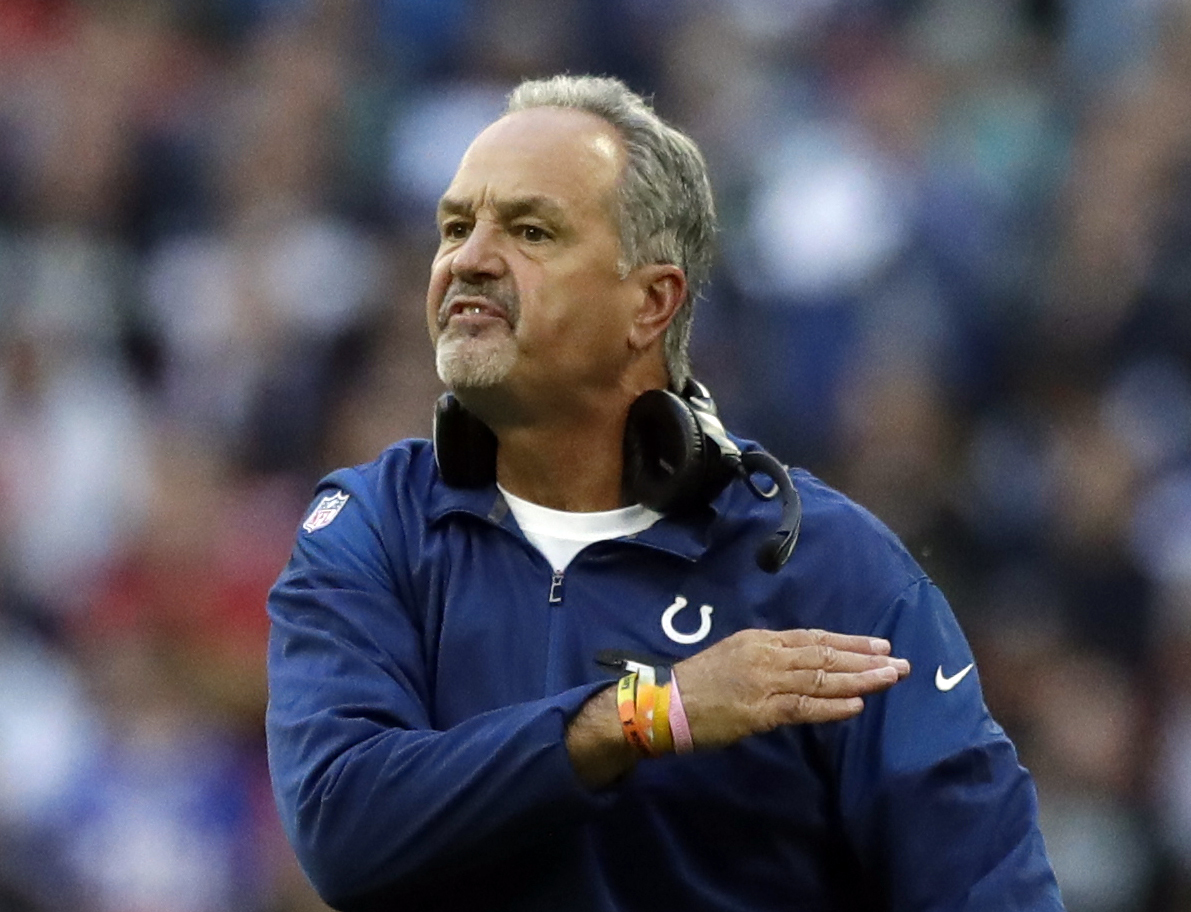 FILE - In this Oct. 2, 2016, file photo, Indianapolis Colts head coach Chuck Pagano gestures during an NFL football game against the Jacksonville Jaguars at Wembley stadium in London. Just five weeks after team owner Jim Irsay expressed hope of making the