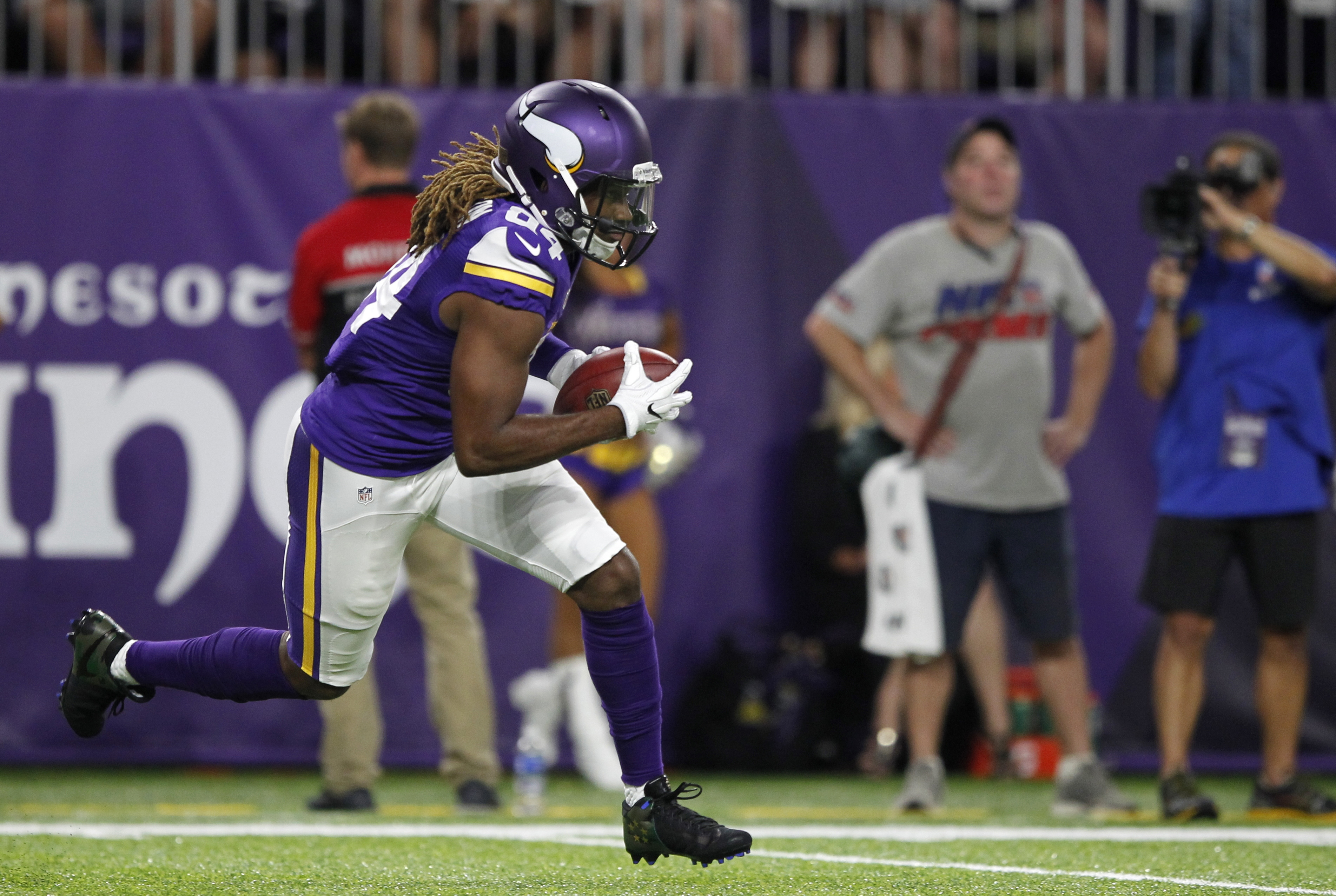 FILE - In this Sept. 18, 2016, file photo, Minnesota Vikings wide receiver Cordarrelle Patterson returns a kickoff during the first half of an NFL football game against the Green Bay Packers, in Minneapolis. Patterson might never be an every-down wide rec