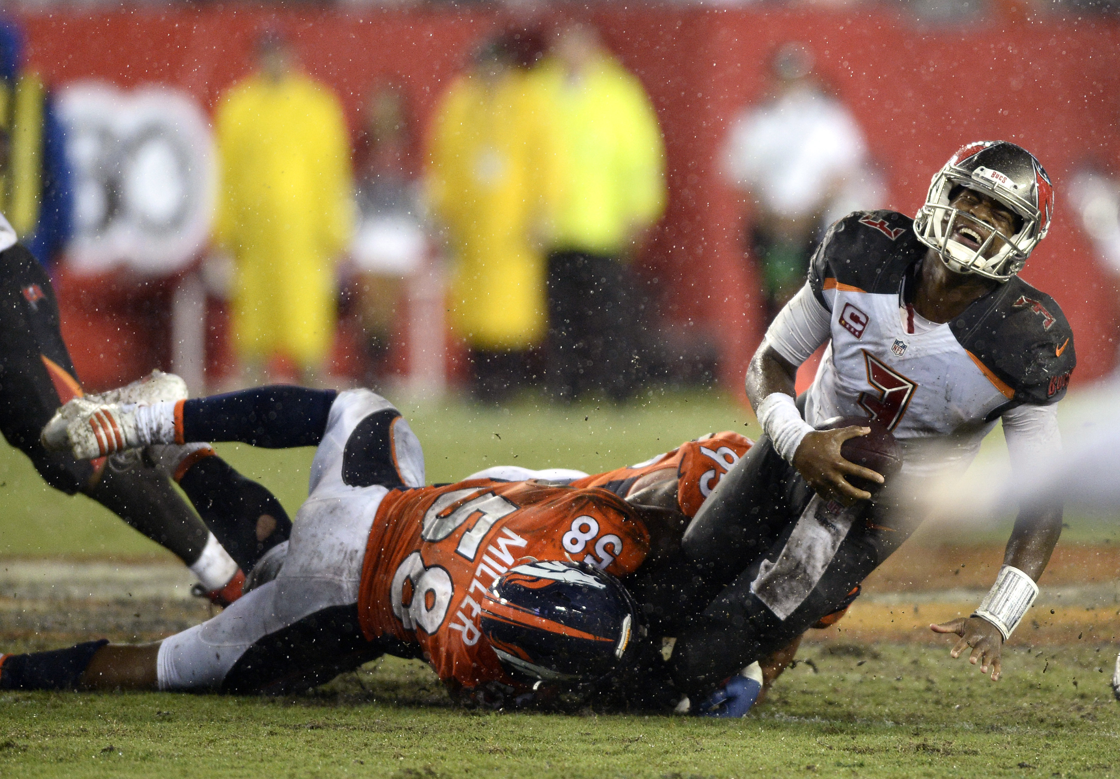 FILE - In this Oct. 2, 2016, file photo, Tampa Bay Buccaneers quarterback Jameis Winston (3) is sacked by Denver Broncos outside linebacker Von Miller (58) during the fourth quarter of an NFL football game in Tampa, Fla. If Miller spins his way to a sack