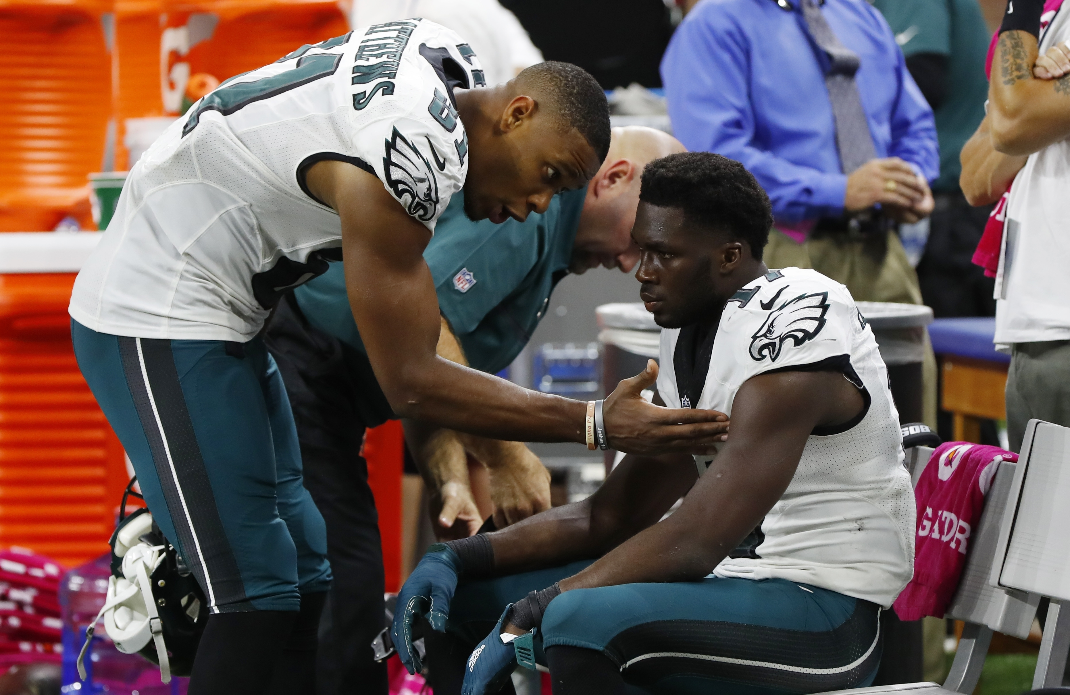 Philadelphia Eagles wide receiver Nelson Agholor, right, is consoled by teammate Philadelphia Eagles wide receiver Jordan Matthews (81) after an NFL football game, Sunday, Oct. 9, 2016, in Detroit. Lions cornerback Darius Slay intercepted a pass intended