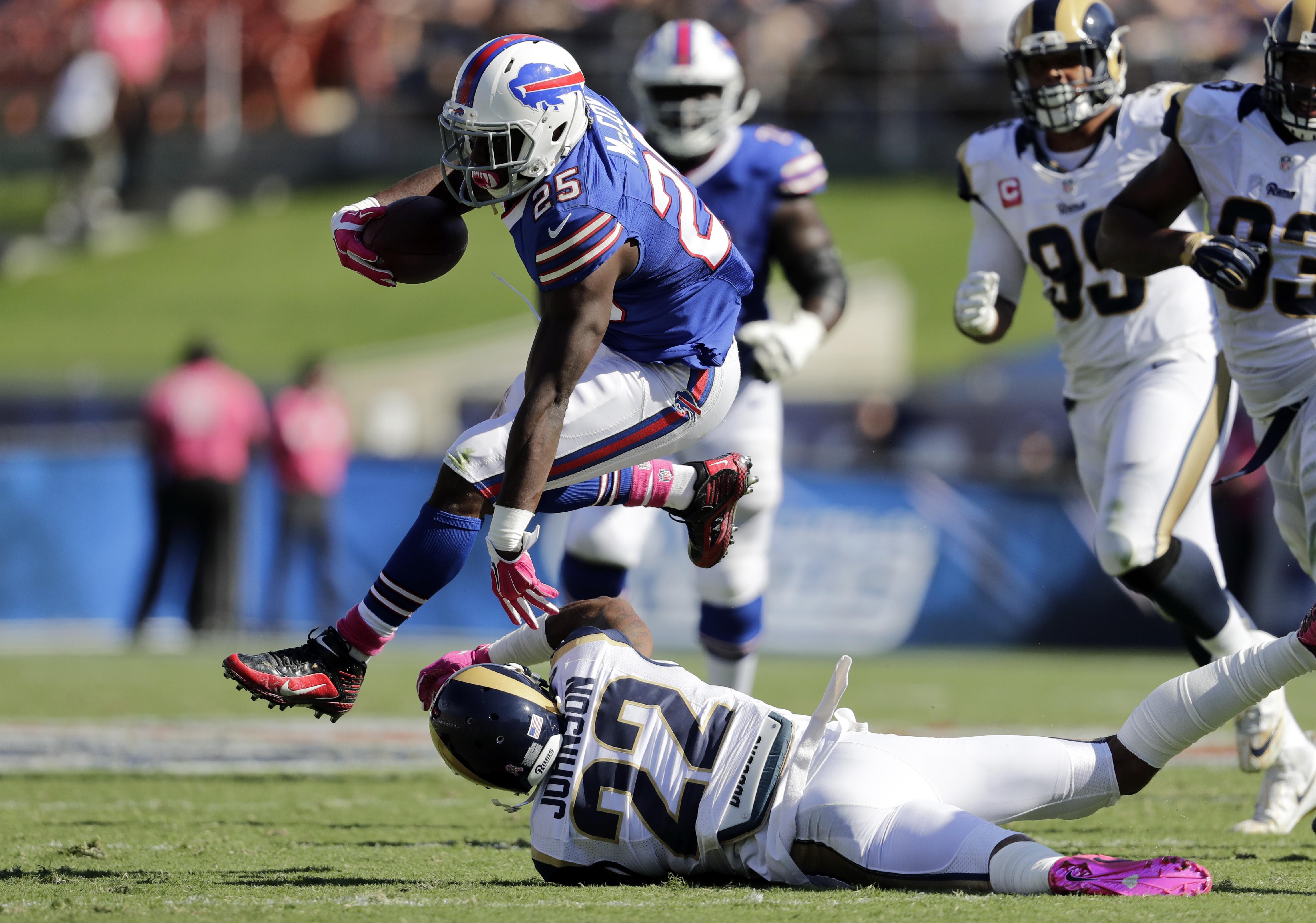 Buffalo Bills running back LeSean McCoy (25) runs past Los Angeles Rams cornerback Trumaine Johnson (22) during the first half of an NFL football game, Sunday, Oct. 9, 2016, in Los Angeles. (AP Photo/Jae C. Hong)