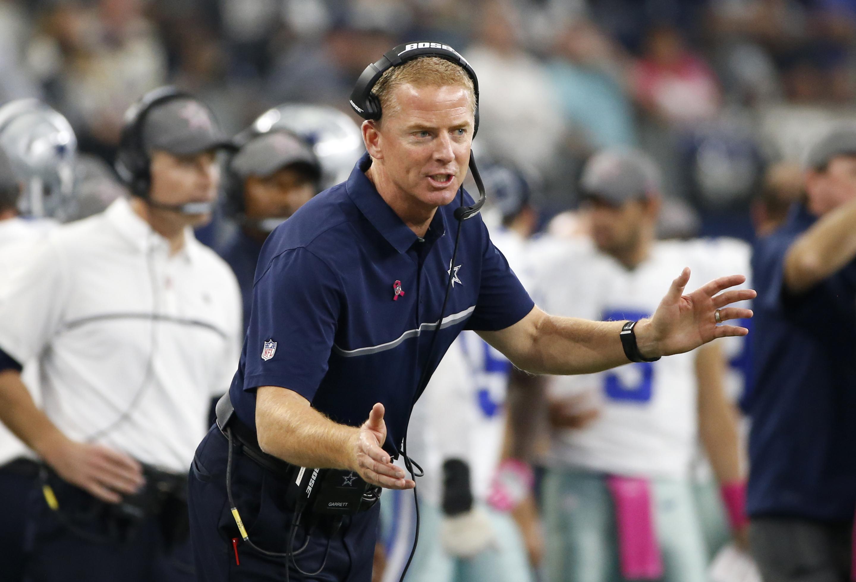 Dallas Cowboys head coach Jason Garrett shouts toward an official in the first half of an NFL football game against the Cincinnati Bengals on Sunday, Oct. 9, 2016, in Arlington, Texas. (AP Photo/Ron Jenkins)