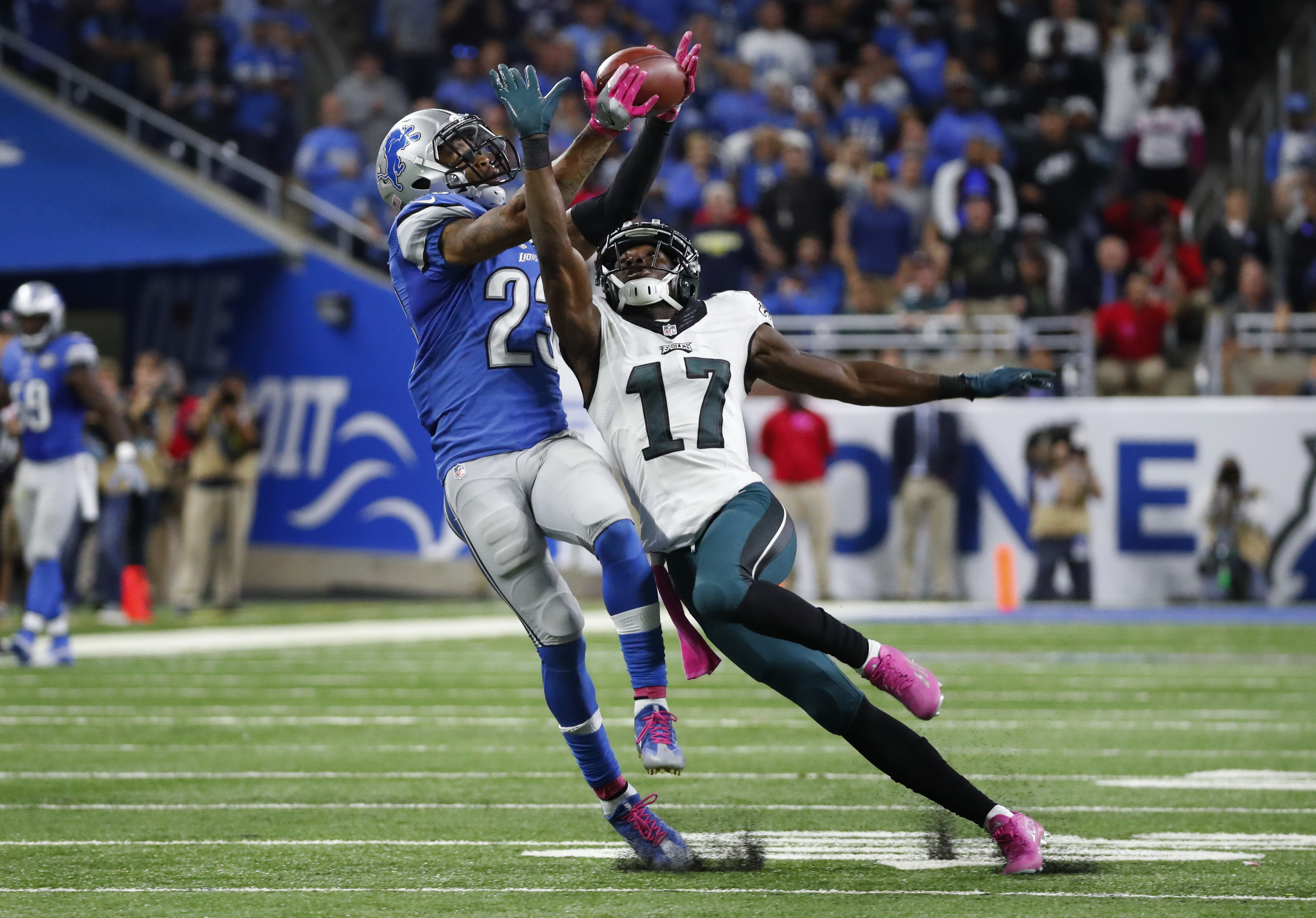 Detroit Lions cornerback Darius Slay (23) intercepts a pass intended for Philadelphia Eagles wide receiver Nelson Agholor (17) in the fourth quarter of an NFL football game, Sunday, Oct. 9, 2016, in Detroit. Detroit defeated Philadelphia 24-23. (AP Photo/
