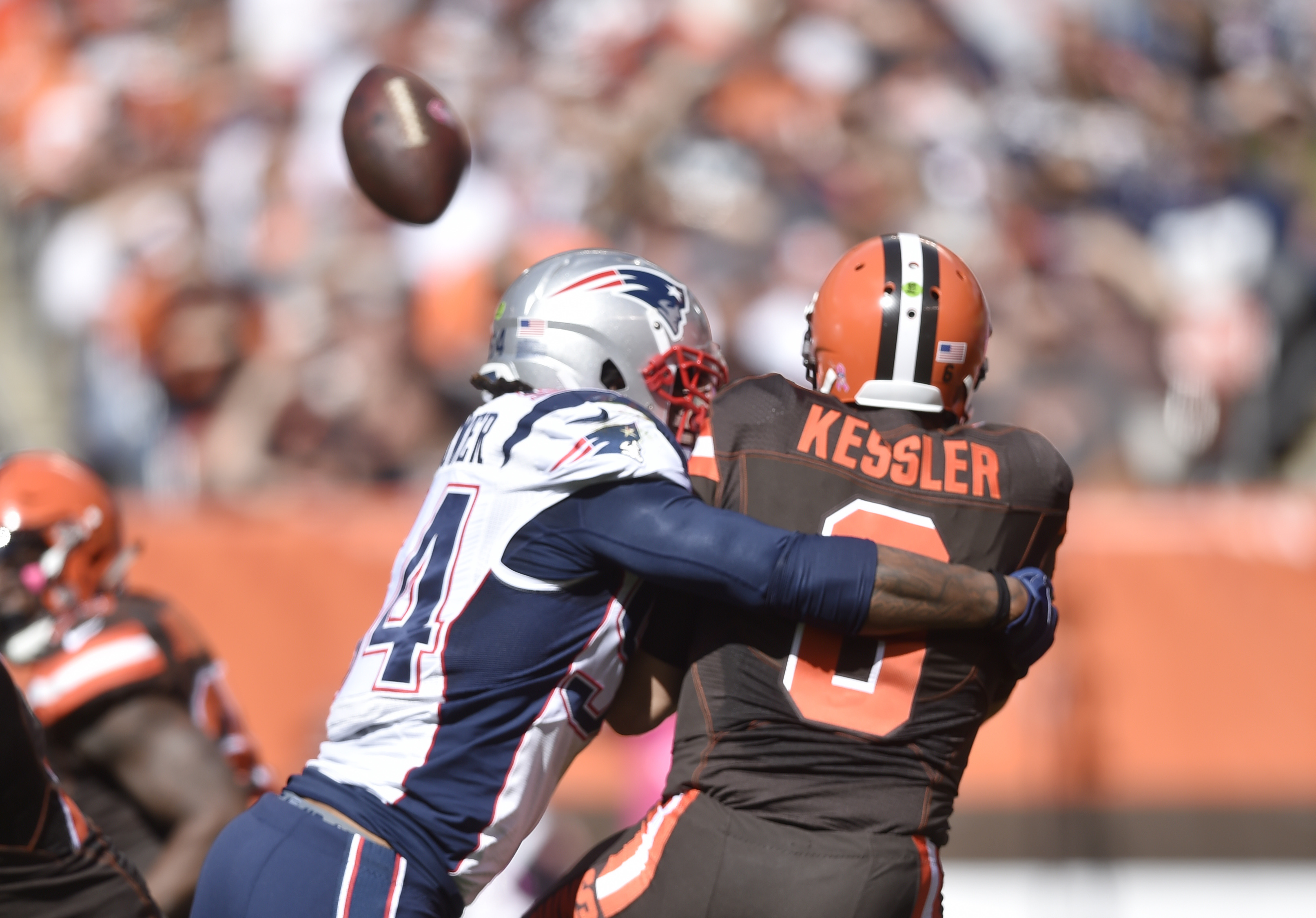 FILE - In this Oct. 9, 2016, file photo, New England Patriots middle linebacker Dont'a Hightower hits Cleveland Browns quarterback Cody Kessler in the first half of an NFL football game, in Cleveland. Kessler's pass went out of the end zone for a safety.