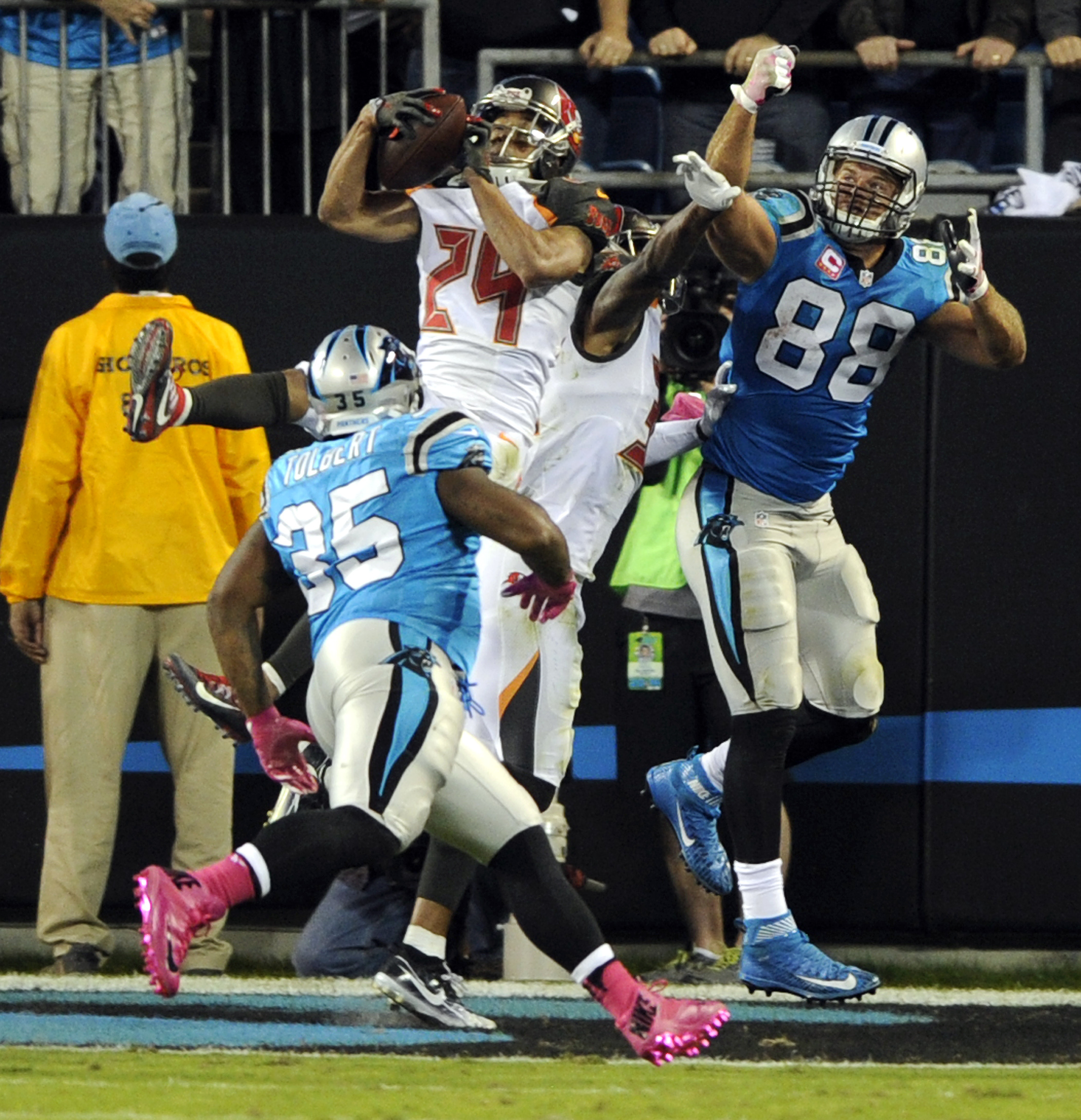 Tampa Bay Buccaneers' Brent Grimes (24) intercepts a pass intended for Carolina Panthers' Greg Olsen (88) in the second half of an NFL football game in Charlotte, N.C., Monday, Oct. 10, 2016. (AP Photo/Mike McCarn)