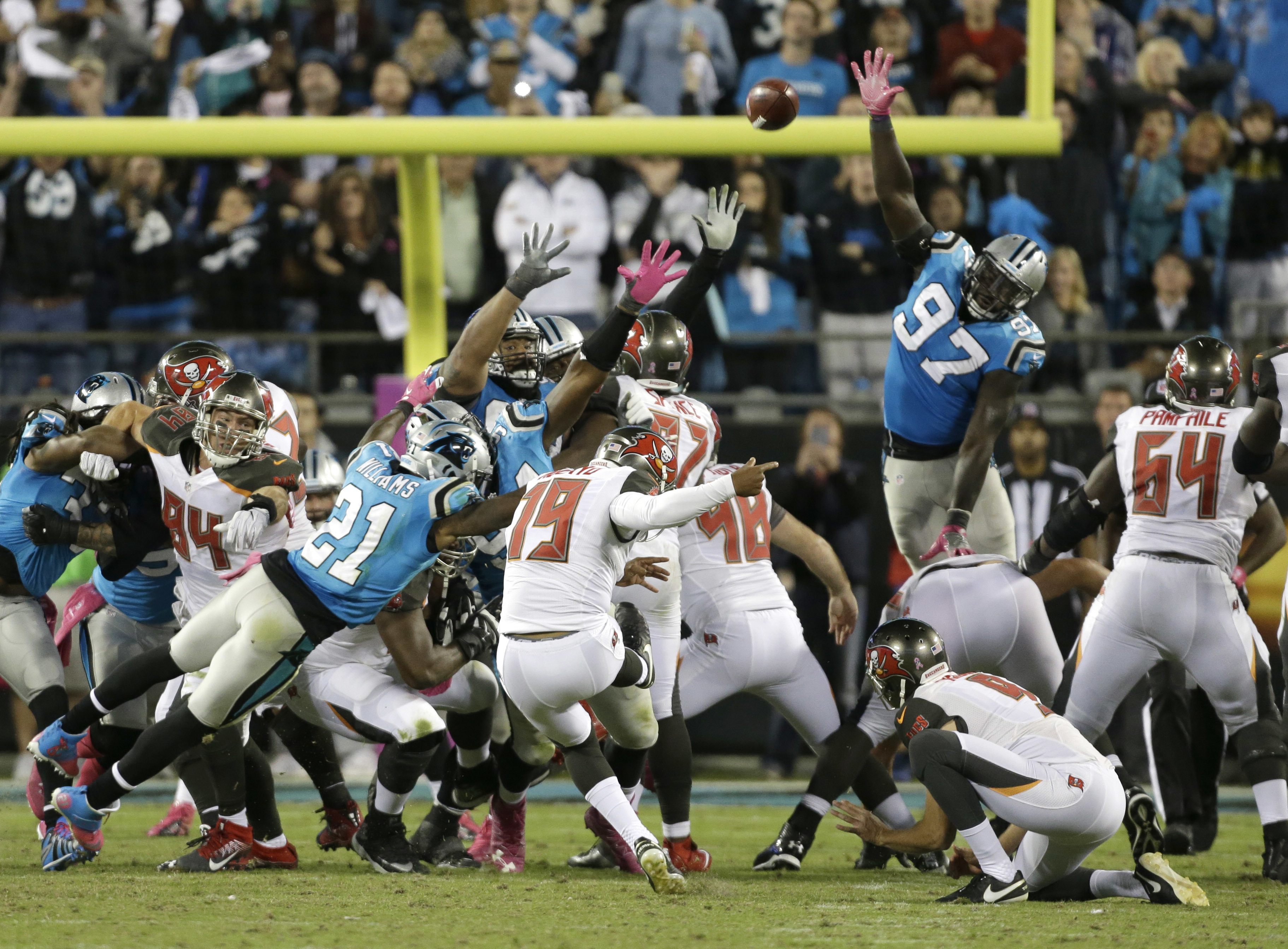 Tampa Bay Buccaneers' Roberto Aguayo (19) kicks the game-winning field goal against the Carolina Panthers in the final seconds of the second half of an NFL football game in Charlotte, N.C., Monday, Oct. 10, 2016. (AP Photo/Bob Leverone)
