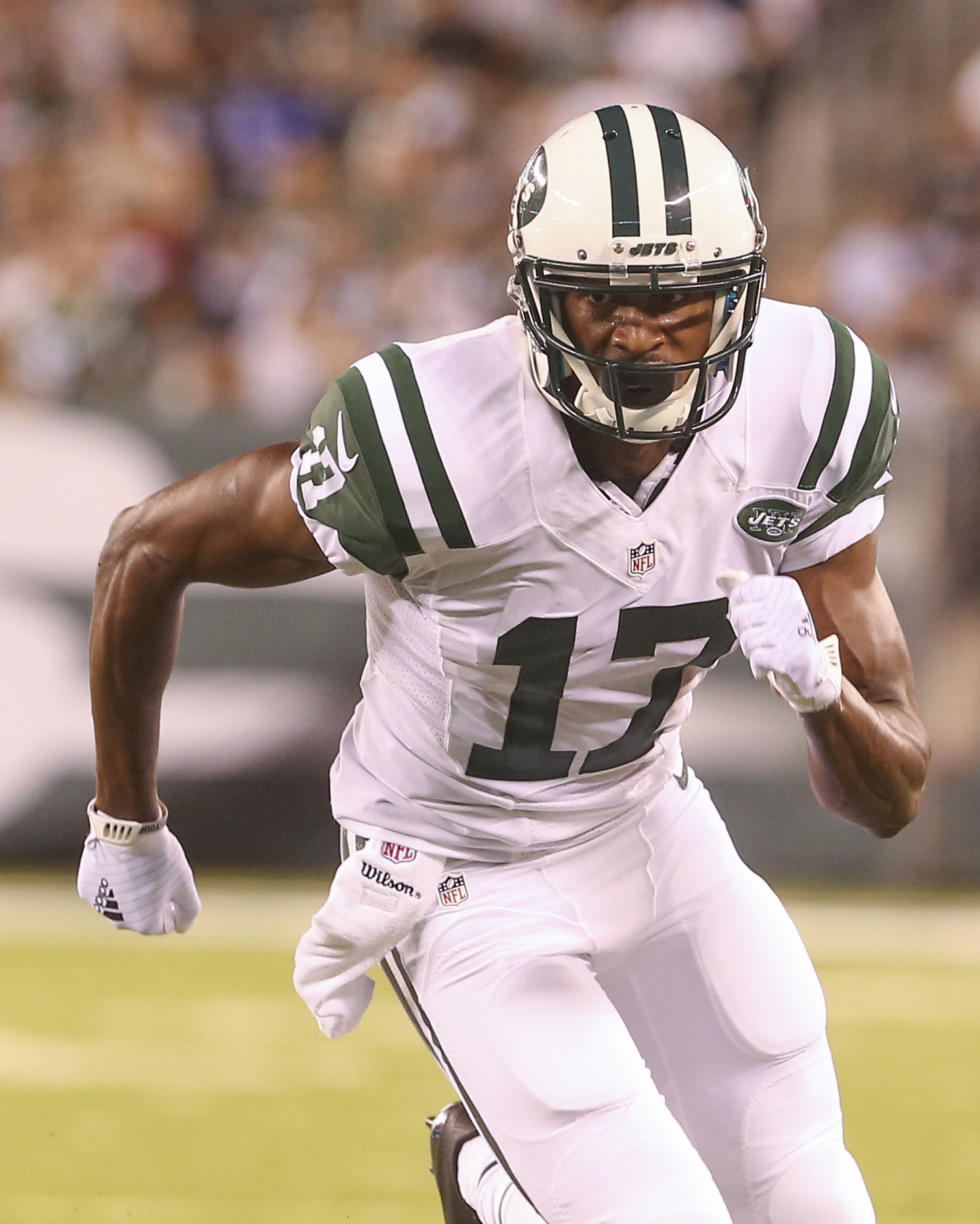 FILE - In this Aug. 11, 2016, file photo, New York Jets wide receiver Charone Peake (17) runs a pass pattern against the Jacksonville Jaguars during a preseason NFL football game, in East Rutherford, NJ. Brandon Marshall realizes the Jets suffered a big l