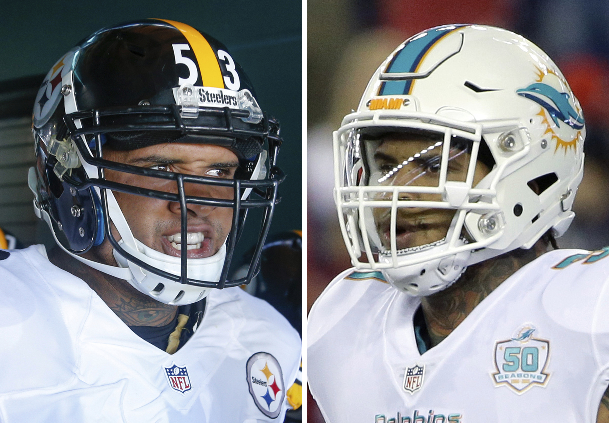 FILE - At left, in a Sept. 25, 2016, file photo, Pittsburgh Steelers center Maurkice Pouncey looks to take the field prior to the NFL football game against the Philadelphia Eagles, in Philadelphia. At right, in an Oct. 29, 2015, file photo, Miami Dolphins