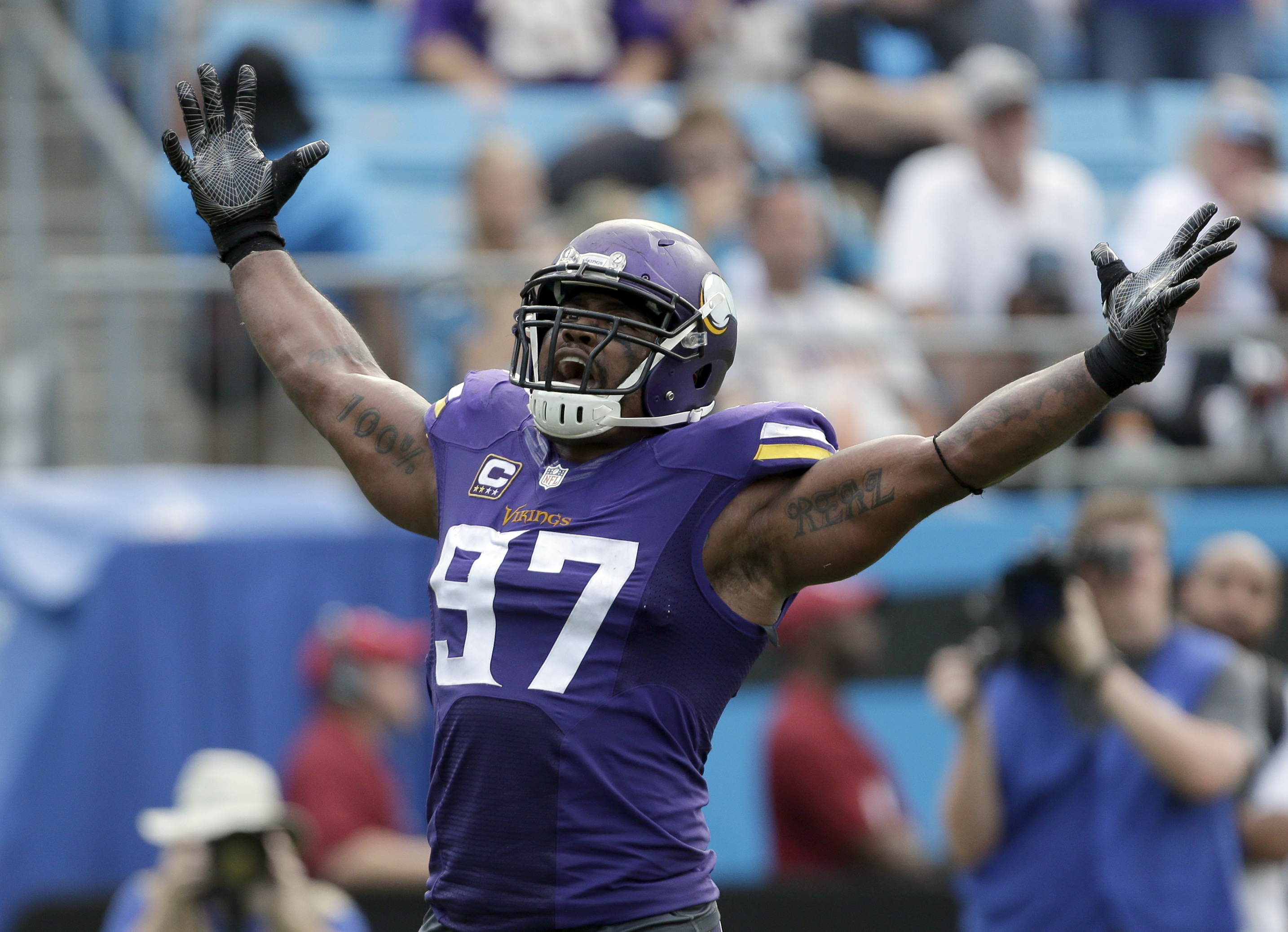 FILE - In this Sept. 25, 2016, file photo, Minnesota Vikings' Everson Griffen celebrates after a sack against the Carolina Panthers during an NFL football game in Charlotte, N.C. A mere five weeks into the NFL schedule and theres already been a massive se
