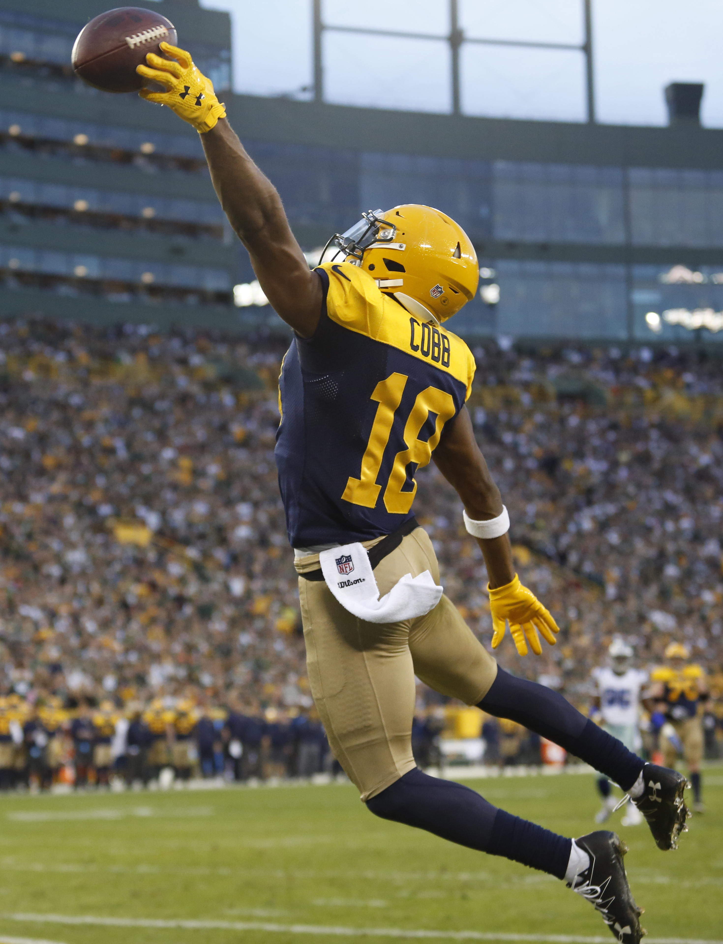 Green Bay Packers' Randall Cobb can't catch a pass during the second half of an NFL football game against the Dallas Cowboys Sunday, Oct. 16, 2016, in Green Bay, Wis. (AP Photo/Matt Ludtke)