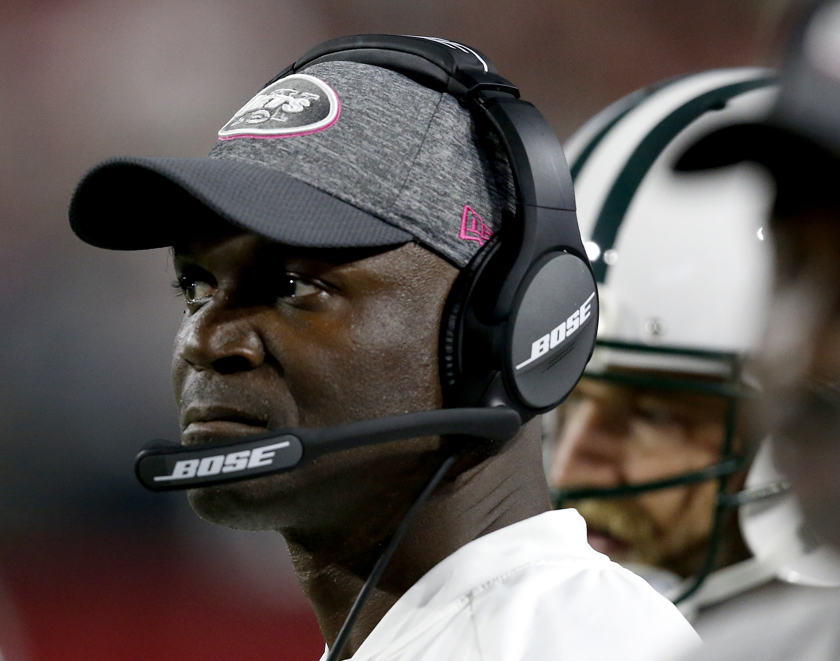 New York Jets head coach Todd Bowles watches from the sidelines during the second half of an NFL football game against the Arizona Cardinals, Monday, Oct. 17, 2016, in Glendale, Ariz. (AP Photo/Ross D. Franklin)