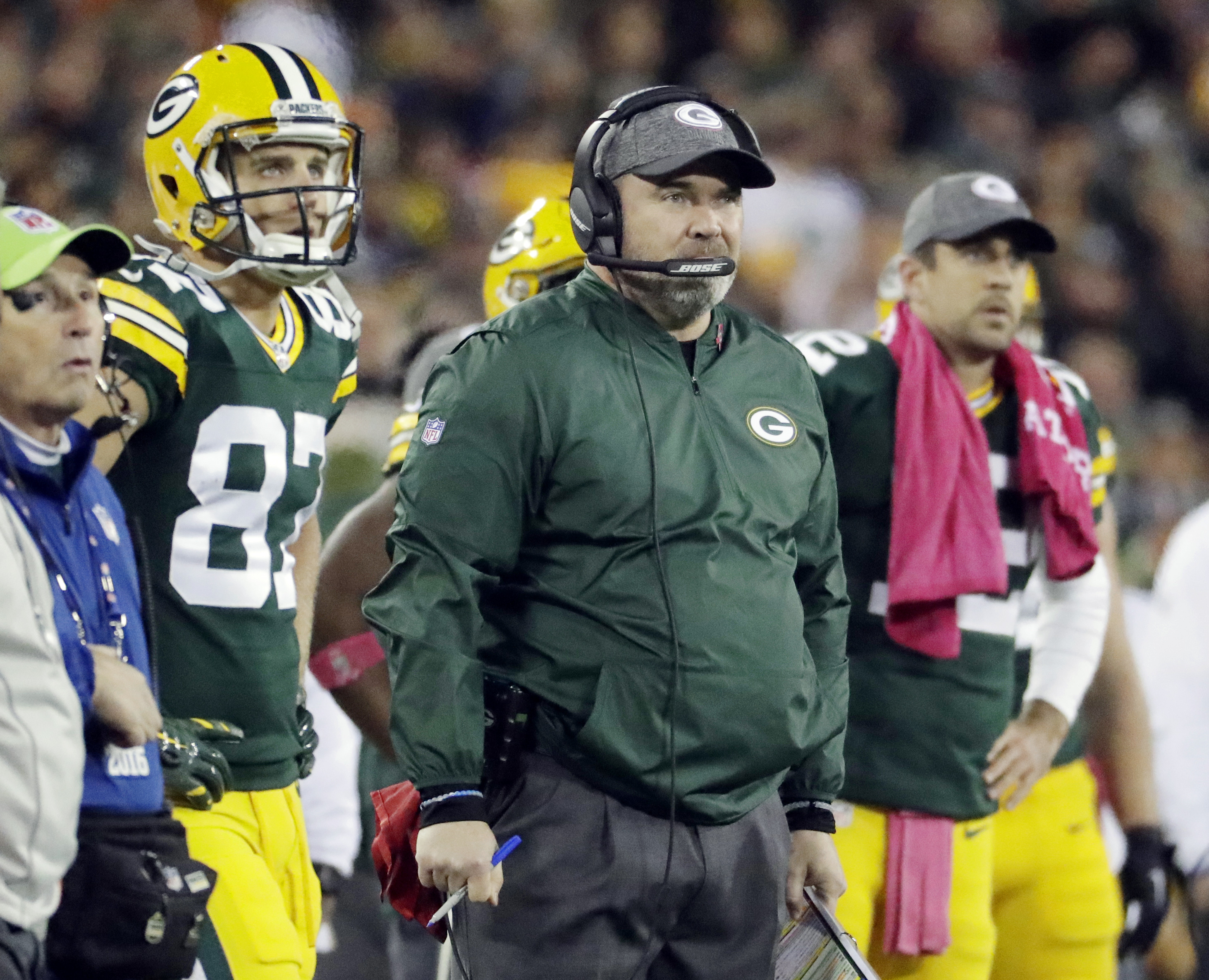FILE - In this Oct. 9, 2016 file photo, Green Bay Packers head coach Mike McCarthy watches an NFL football game against the New York Giants in Green Bay, Wis. The NFL's oldest rivalry will be renewed on Thursday, Oct. 20, 2016, when the Chicago Bears visi