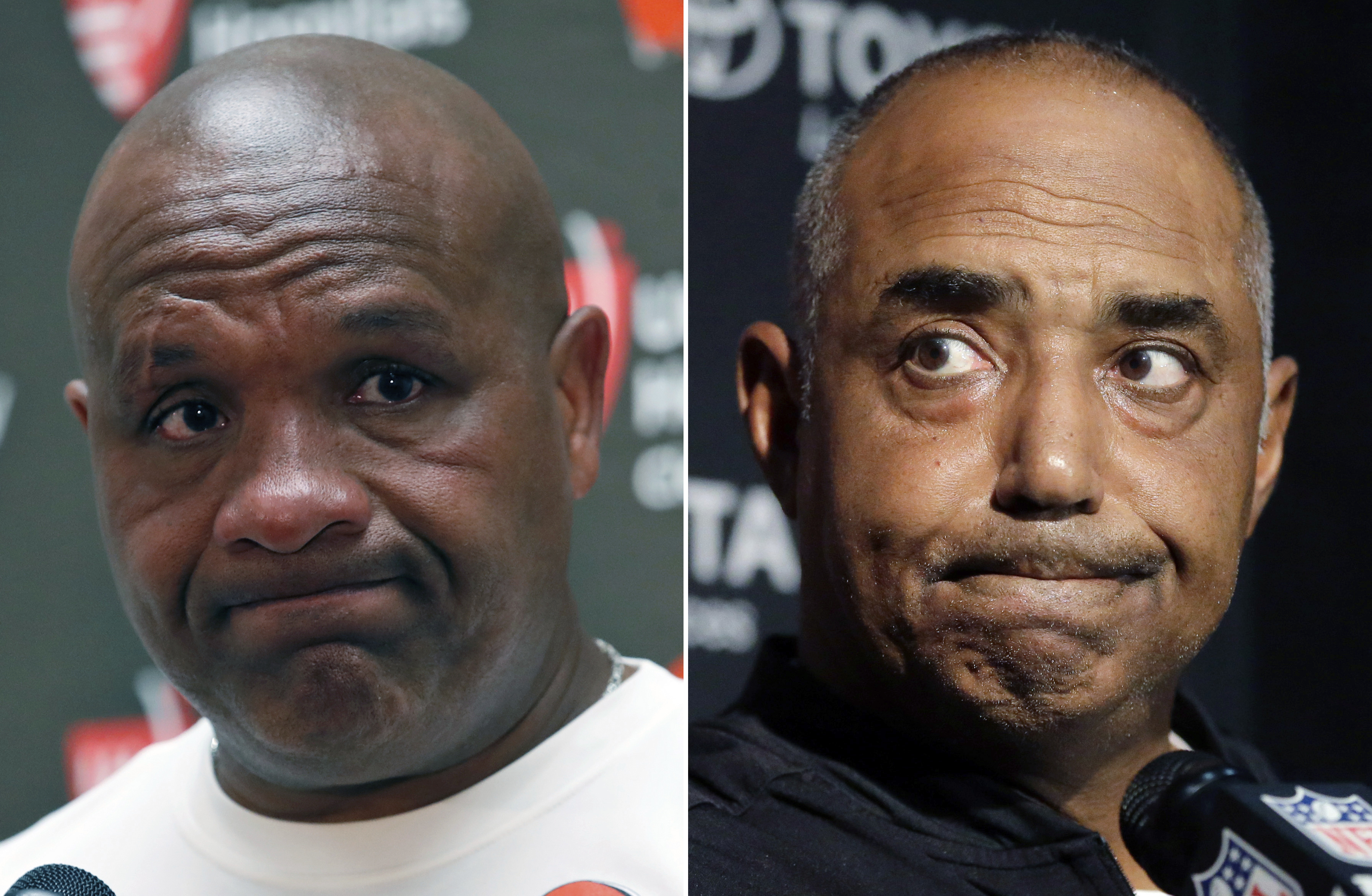 FILE - At left, in an Oct. 2, 2016, file photo, Cleveland Browns head coach Hue Jackson pauses while speaking during a media availability after an NFL football game against the Washington Redskins, in Landover, Md. At right, in an Oct. 16, 2016, file phot