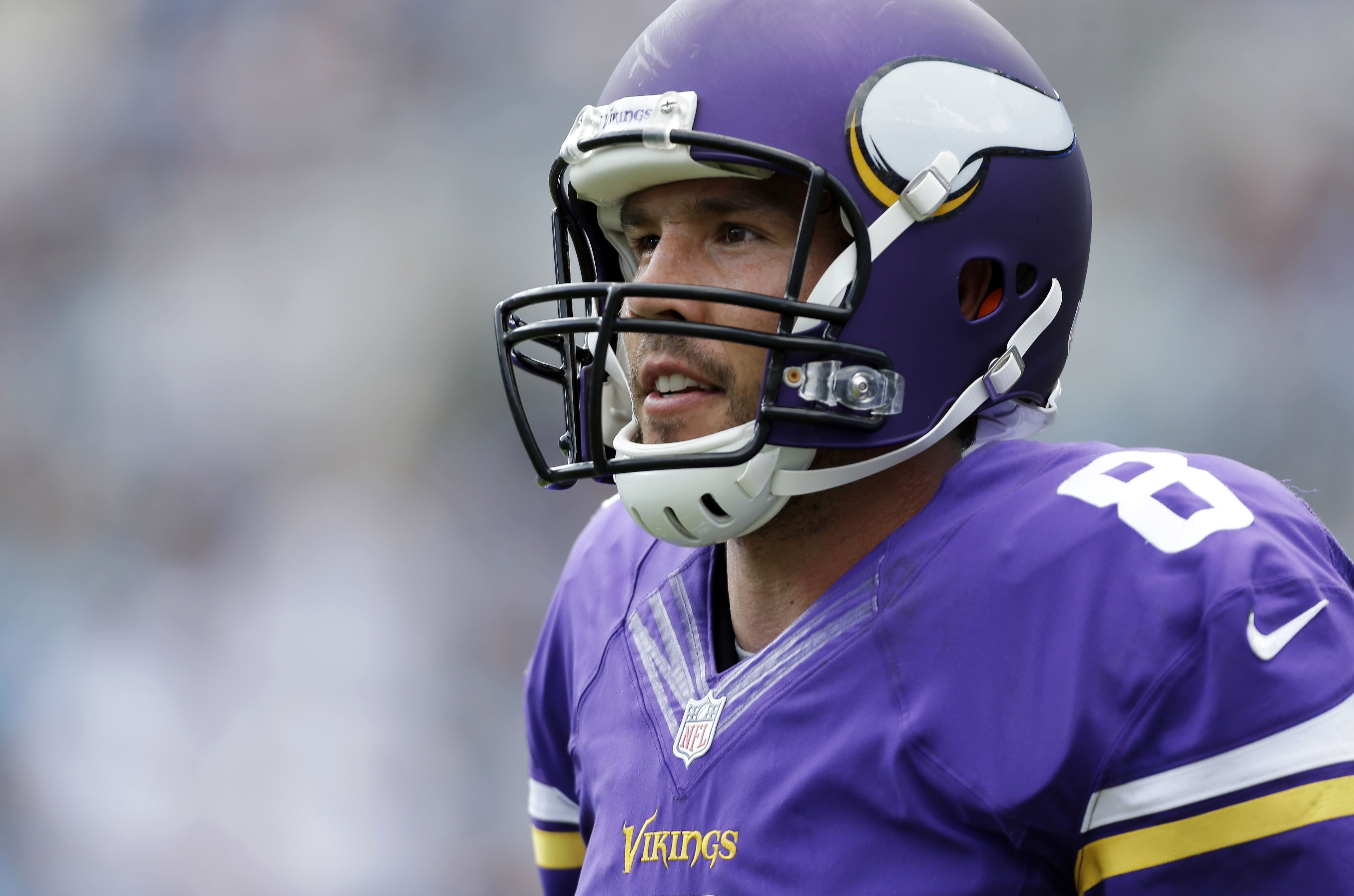 FILE - In this Sept. 18, 2016, file photo, Minnesota Vikings' Sam Bradford stands on the sidelines during the second half of an NFL football game against the Carolina Panthers in Charlotte, N.C. The former Eagles quarterback returns to Philadelphia for th