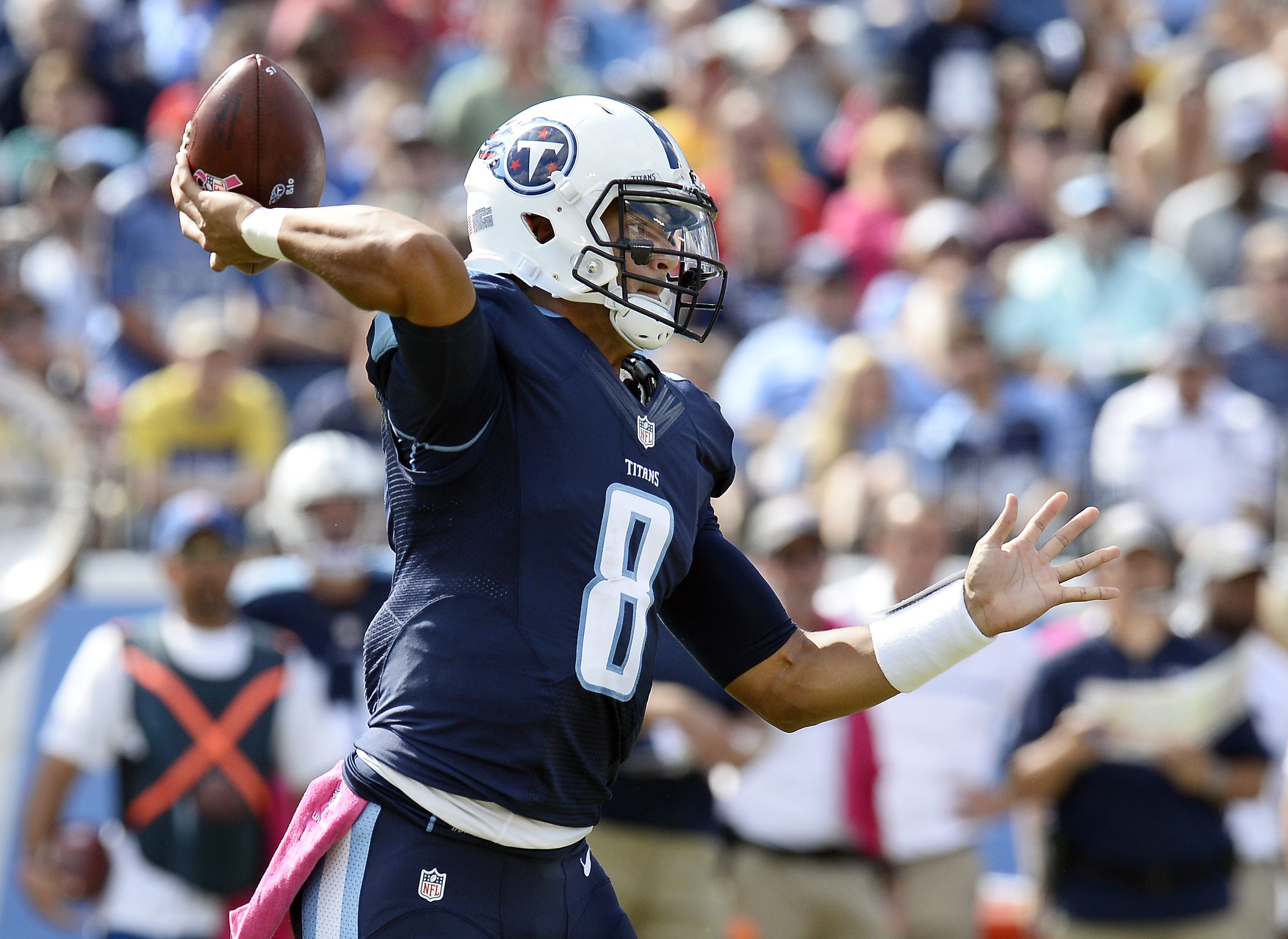 FILE - In this Oct. 16, 2016, file photo, Tennessee Titans quarterback Marcus Mariota passes against the Cleveland Browns in the second half of an NFL football game in Nashville, Tenn. The Titans can win three straight games for the first time in five yea