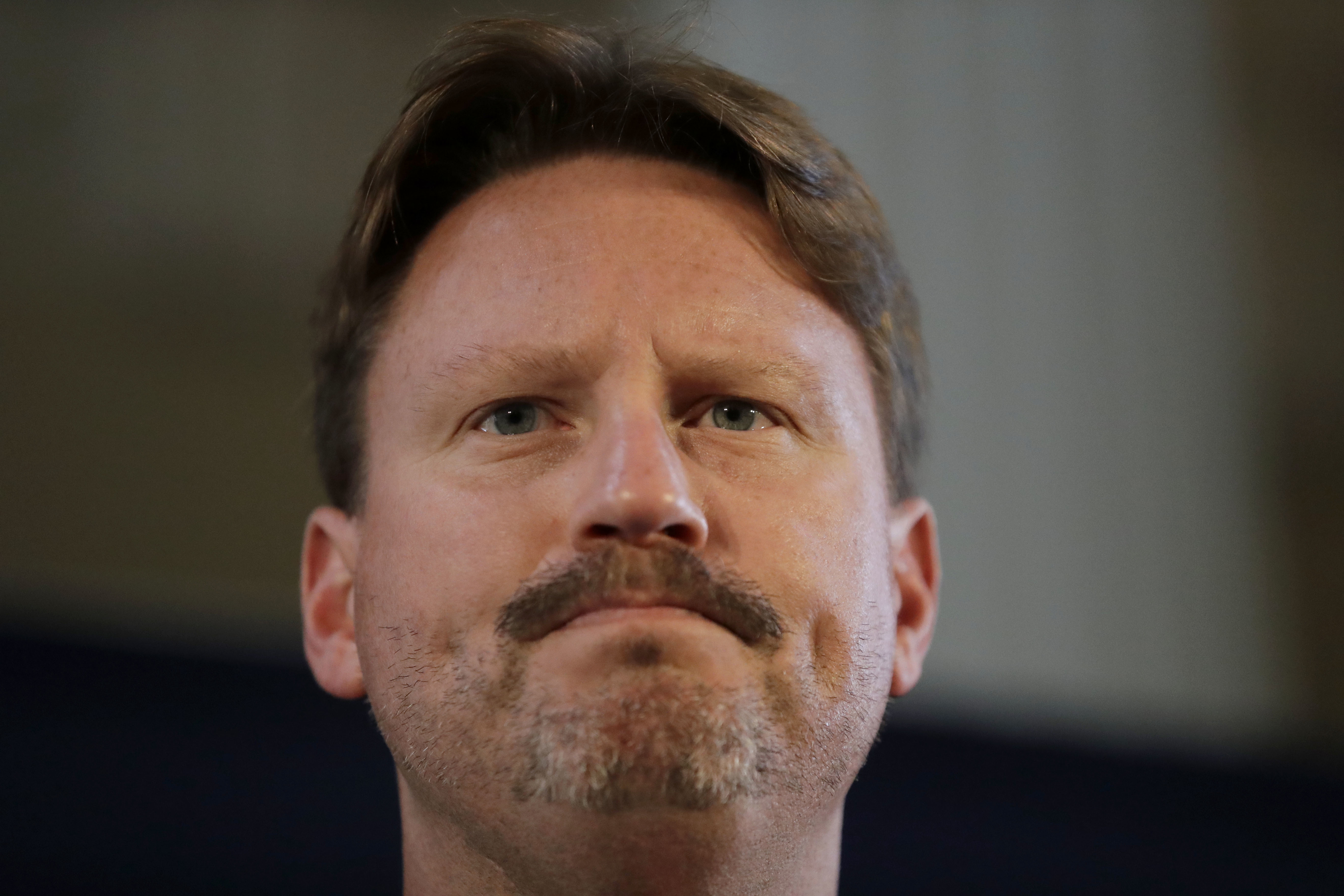 New York Giants head coach Ben McAdoo answers questions from journalists during a press conference at Syon House in Syon Park, south west London, Friday, Oct. 21, 2016. The Los Angeles Rams are due to play the New York Giants at Twickenham stadium in Lond
